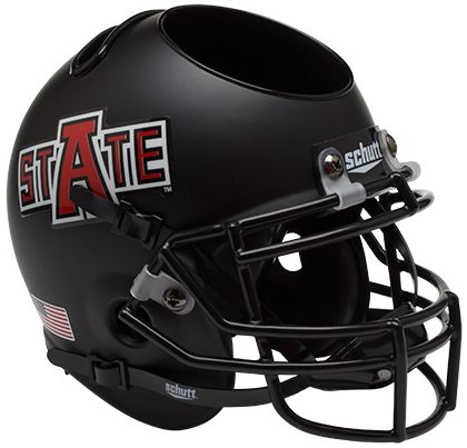 Arkansas State Red Wolves Miniature Football Helmet Desk Caddy <B>Matte Black</B>