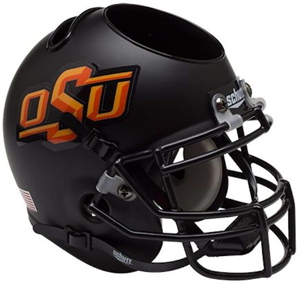 Oklahoma State Cowboys Miniature Football Helmet Desk Caddy <B>Matte Black</B>