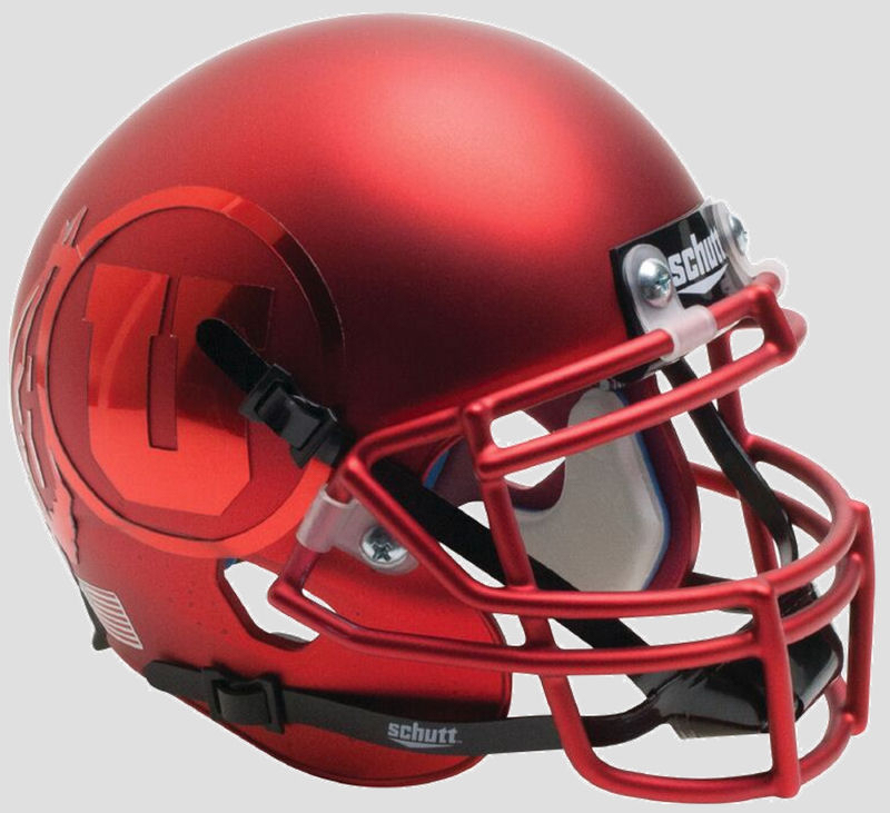Utah Utes Authentic College XP Football Helmet Schutt <B>Satin Red with Red Decal<B>