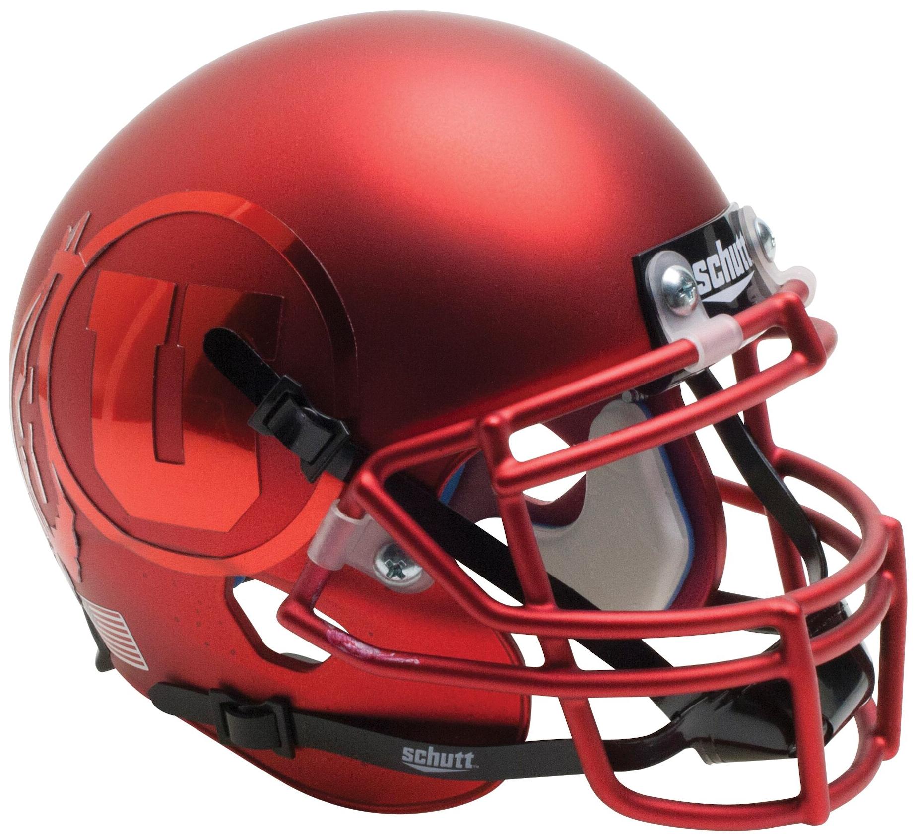 Utah Utes Mini XP Authentic Helmet Schutt <B>Satin Red Chrome Decal</B>
