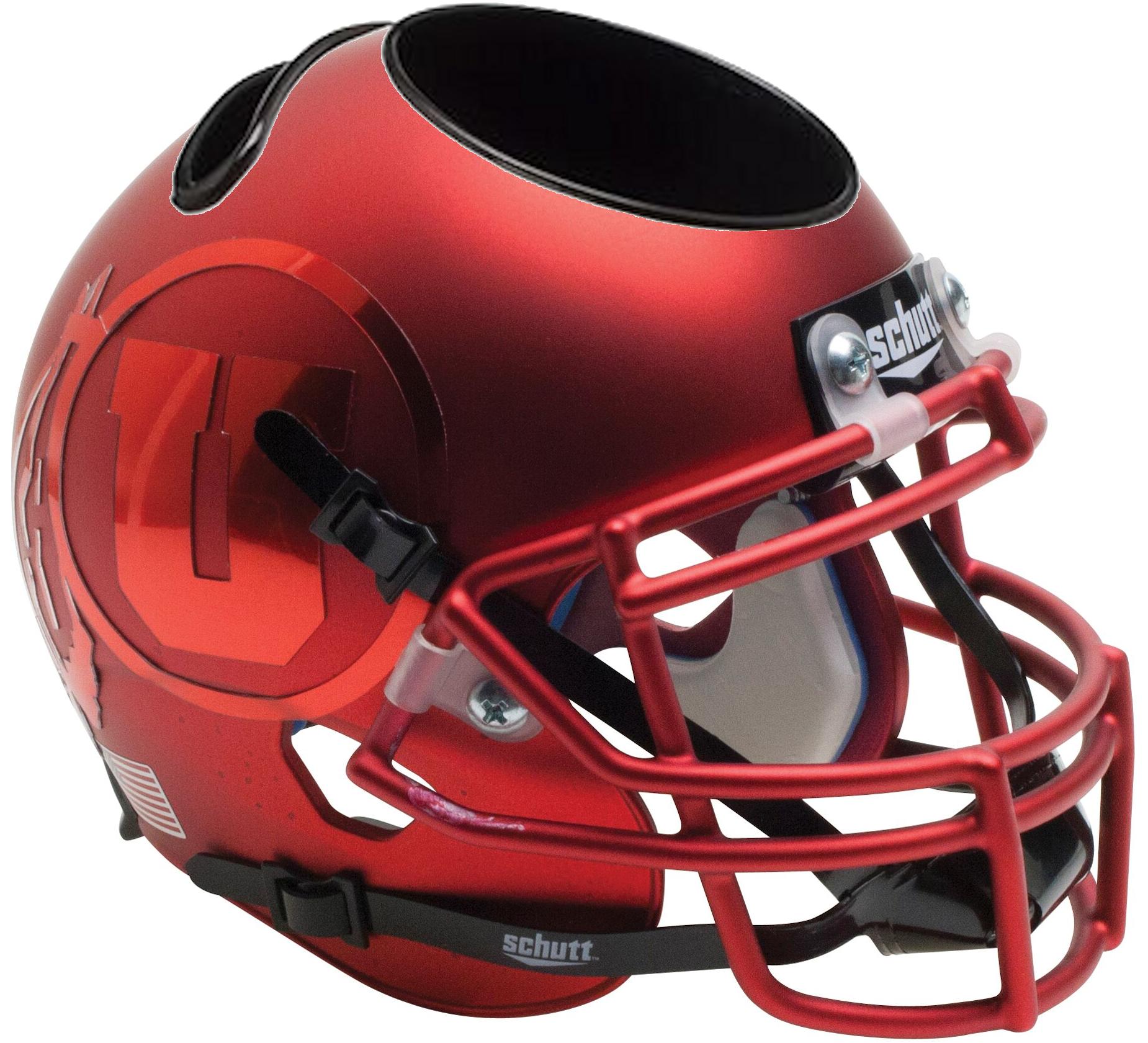 Utah Utes Miniature Football Helmet Desk Caddy <B>Satin Red Chrome Decal</B>