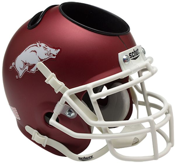 Arkansas Razorbacks Miniature Football Helmet Desk Caddy <B>Matte Crimson</B>