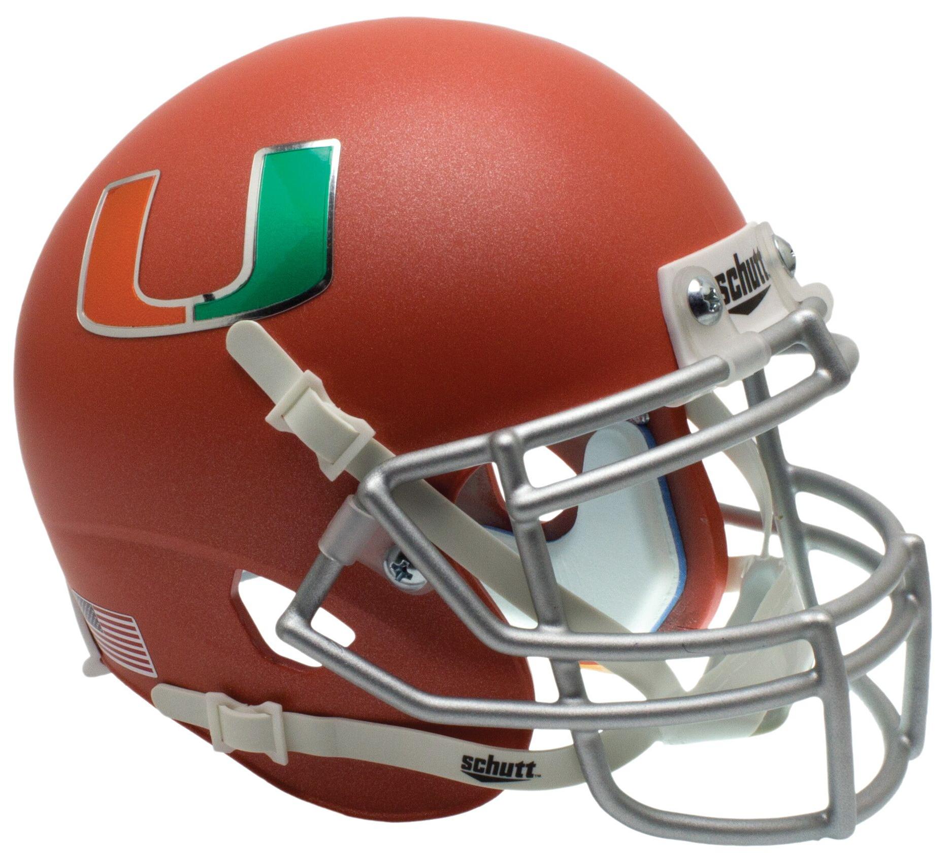 Miami Hurricanes Full XP Replica Football Helmet Schutt <B>Orange</B>