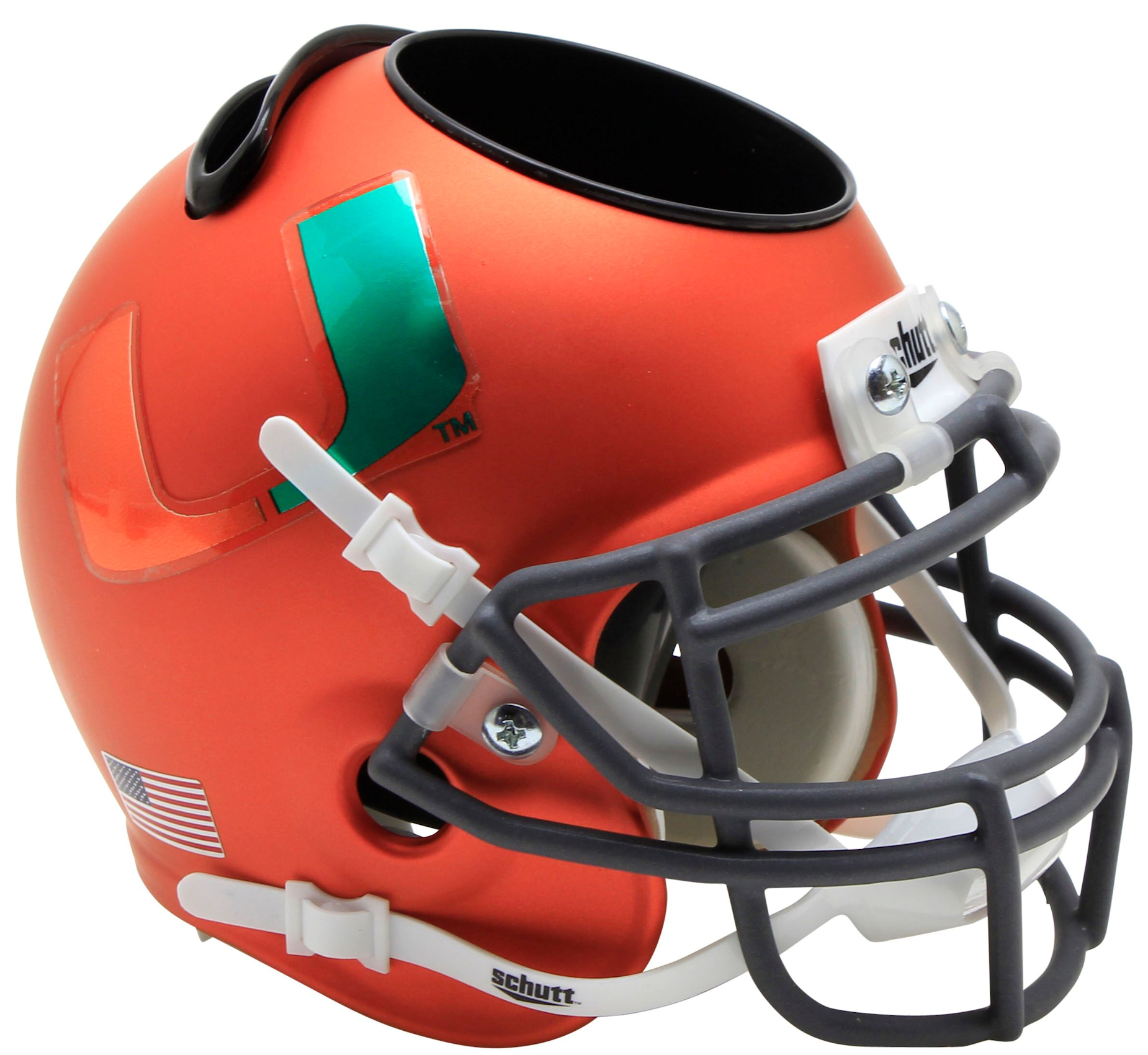 Miami Hurricanes Miniature Football Helmet Desk Caddy <B>Orange</B>