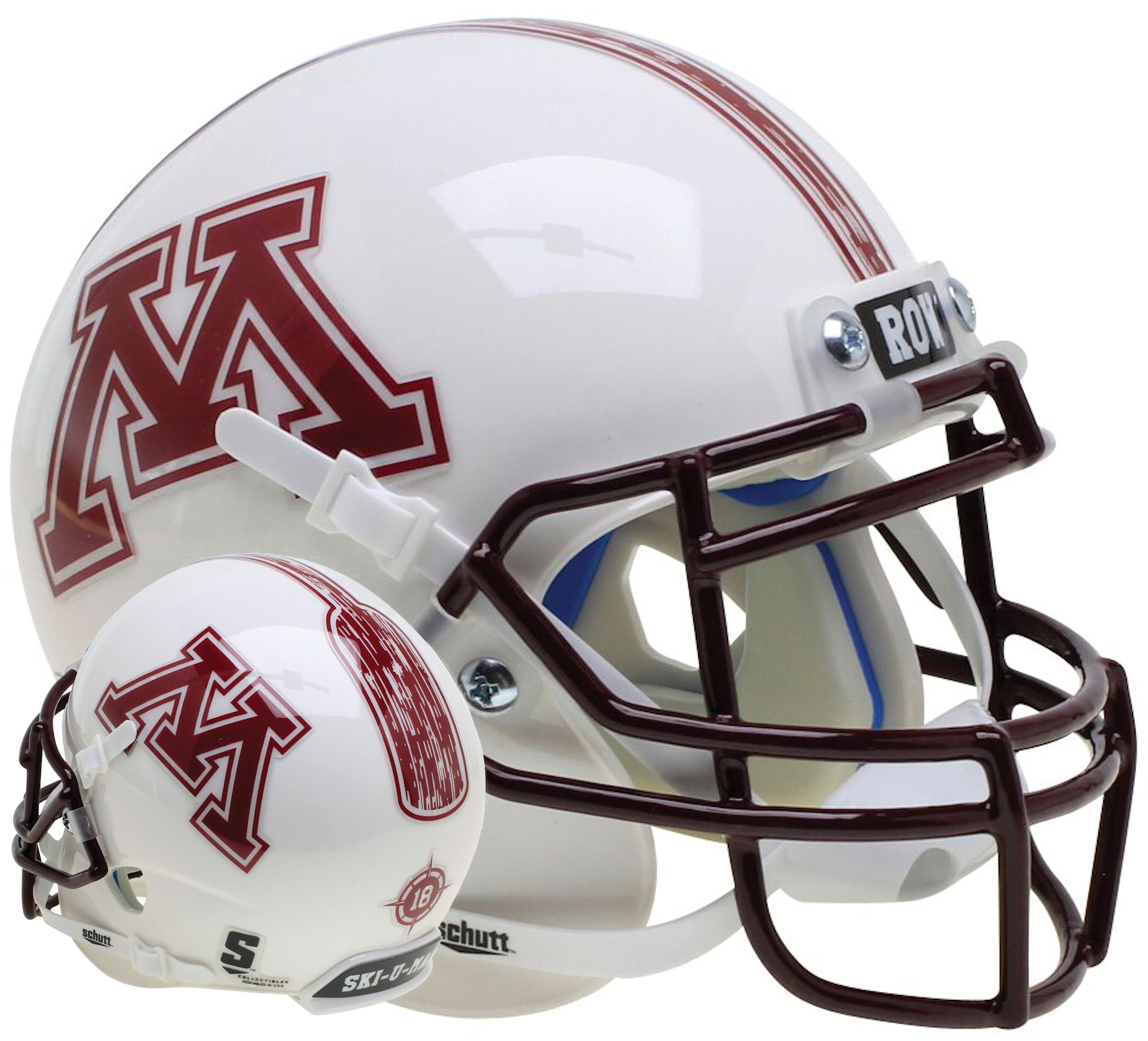 Minnesota Golden Gophers Full XP Replica Football Helmet Schutt <B>White Pinstripe</B>