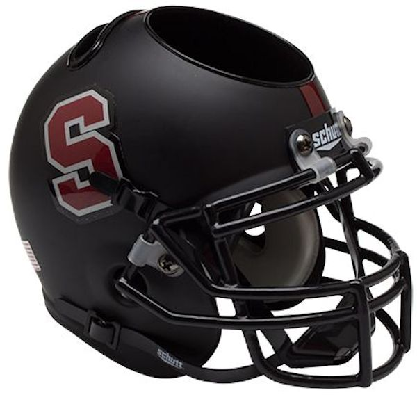 Stanford Cardinal Miniature Football Helmet Desk Caddy <B>Matte Black</B>