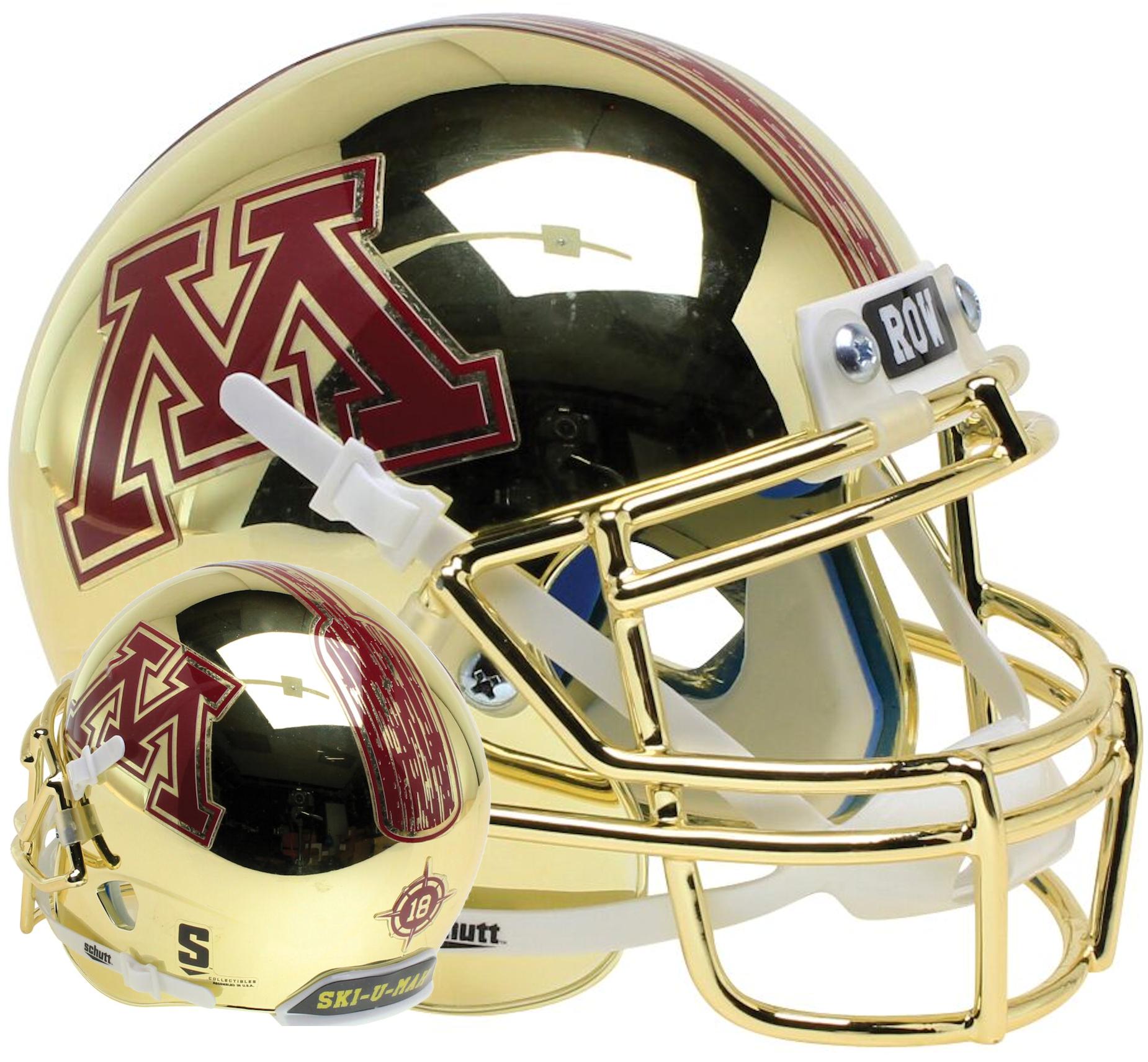 Minnesota Golden Gophers Full XP Replica Football Helmet Schutt <B>Gold Chrome</B>