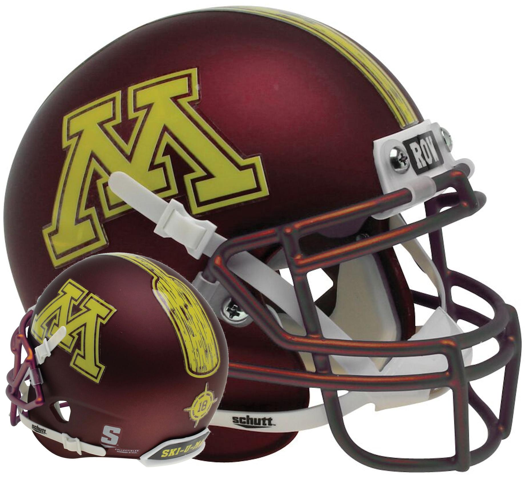 Minnesota Golden Gophers Mini XP Authentic Helmet Schutt <B>Satin Maroon</B>