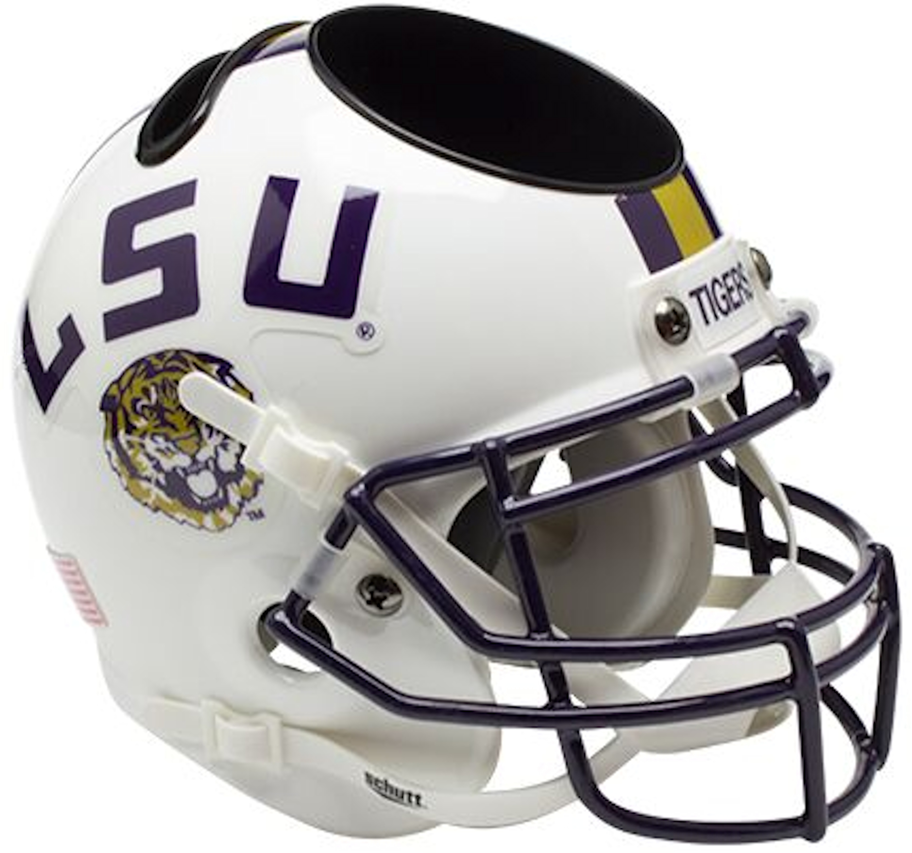 LSU Tigers Miniature Football Helmet Desk Caddy <B>White</B>