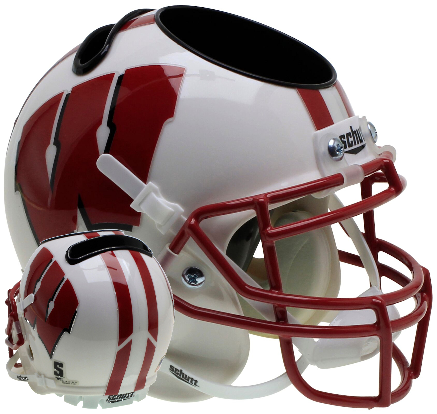 Wisconsin Badgers Miniature Football Helmet Desk Caddy <B>White</B>