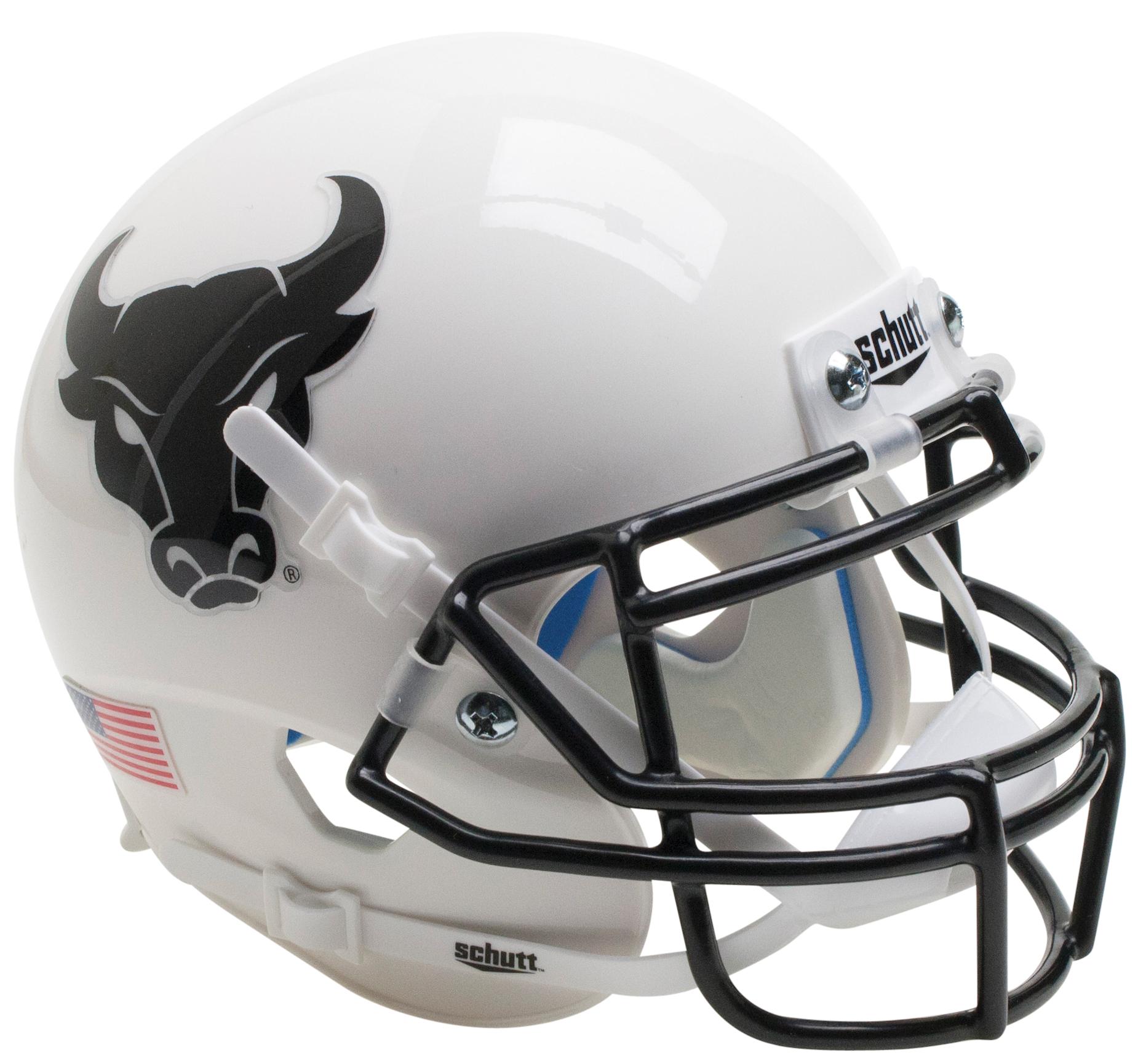 Buffalo Bulls Authentic College XP Football Helmet Schutt <B>White Black Mask</B>