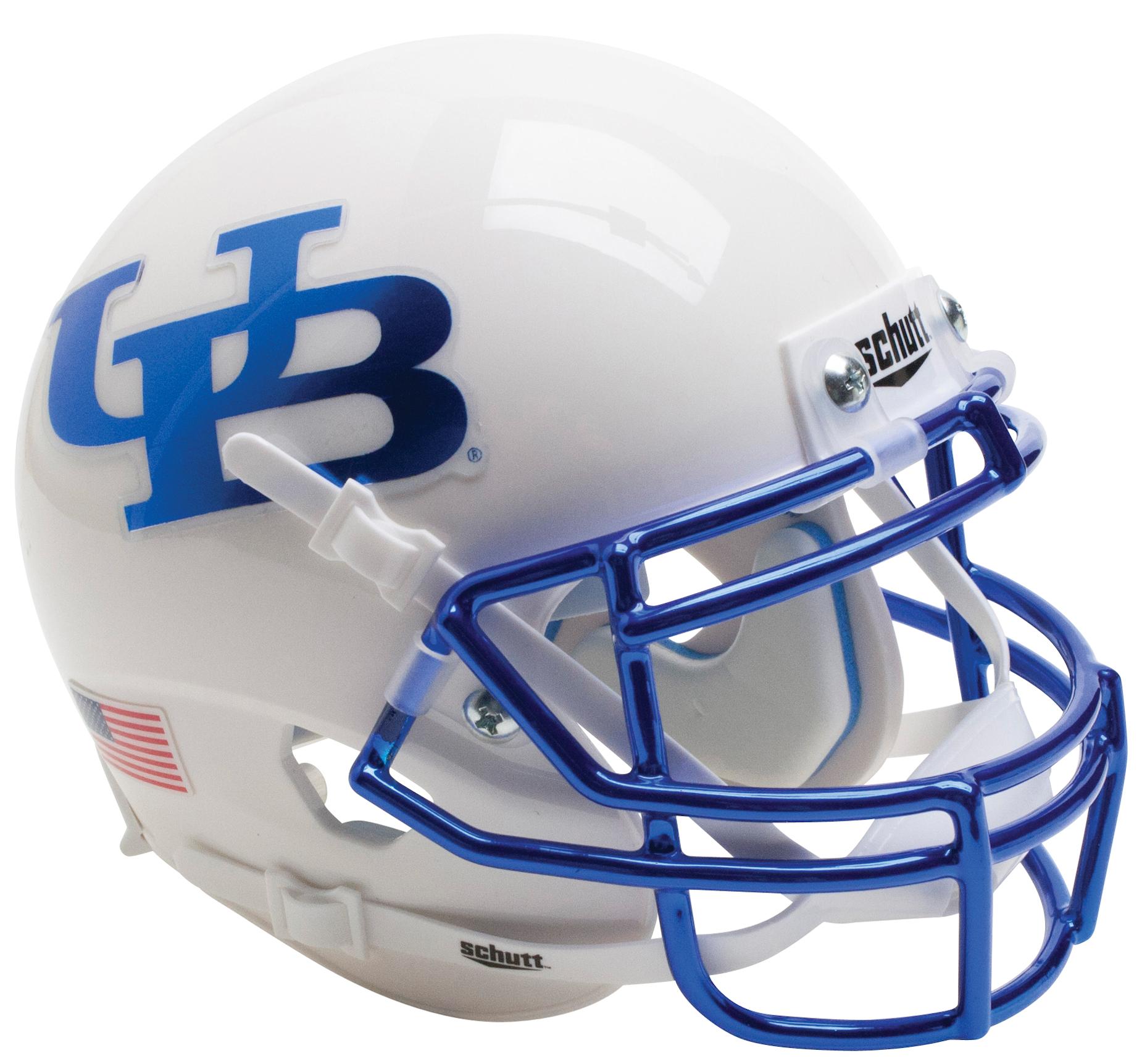 Buffalo Bulls Authentic College XP Football Helmet Schutt <B>White Blue Mask</B>