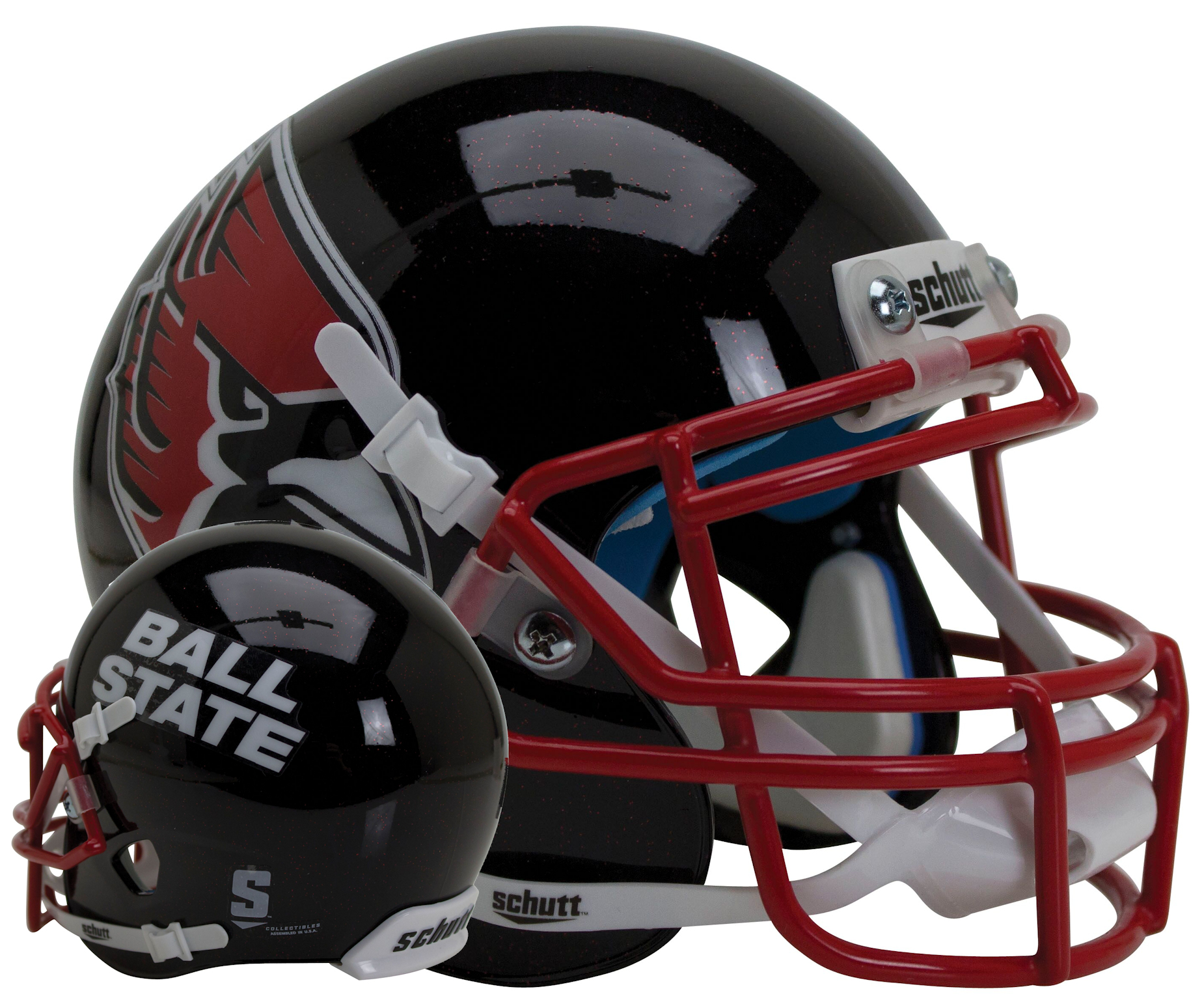 Ball State Cardinals Mini XP Authentic Helmet Schutt <B>Black with Red Flake</B>