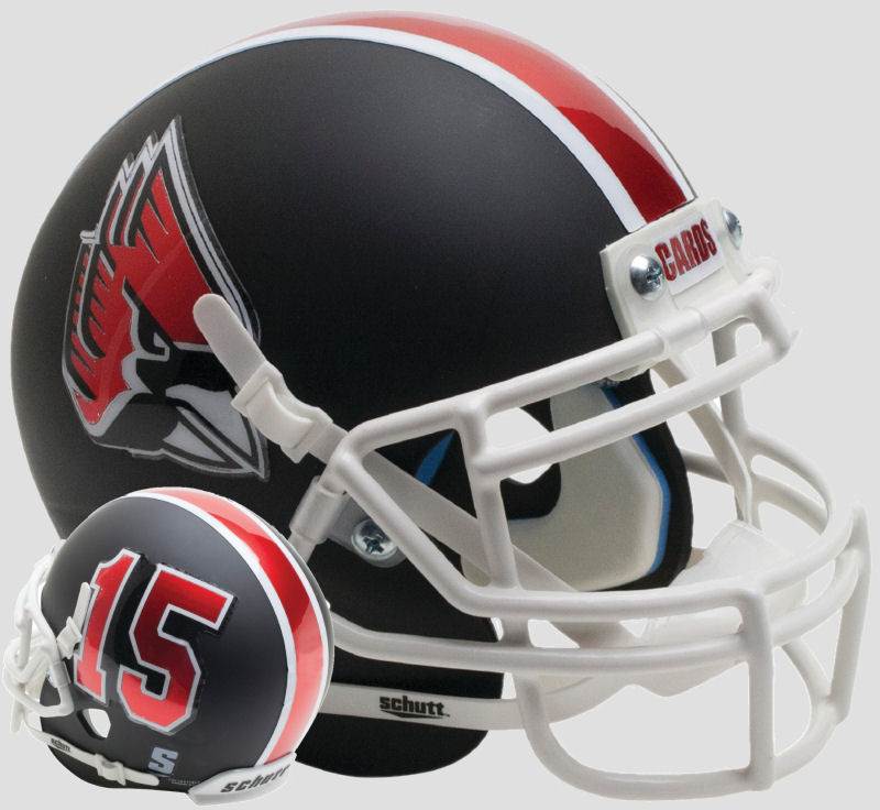 Ball State Cardinals Mini XP Authentic Helmet Schutt <B>Matte Black with White Mask</B>