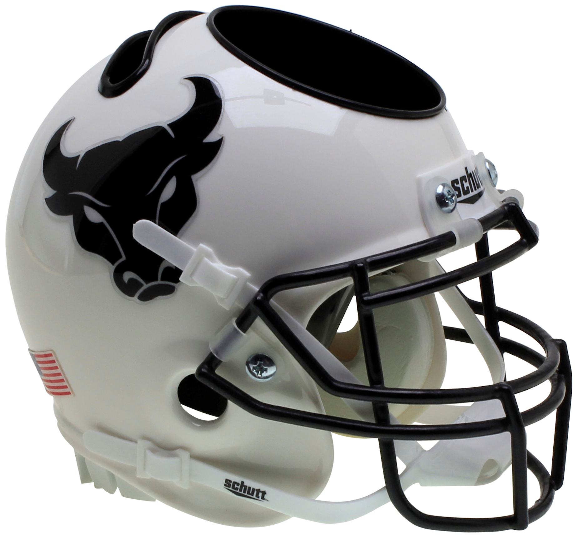 Buffalo Bulls Mini Football Helmet Desk Caddy <B>White Black Mask</B>