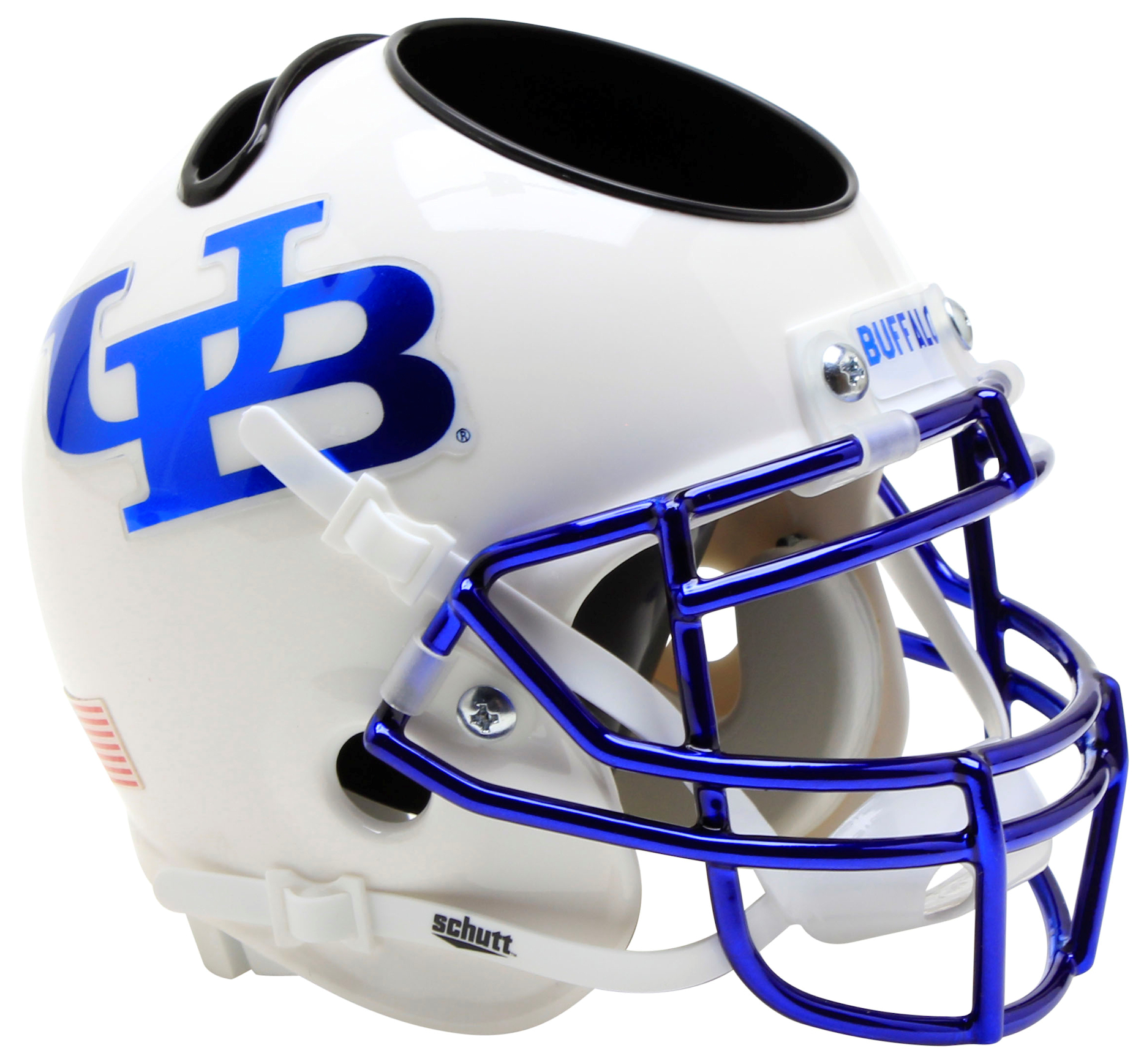 Buffalo Bulls Mini Football Helmet Desk Caddy <B>White Blue Mask</B>