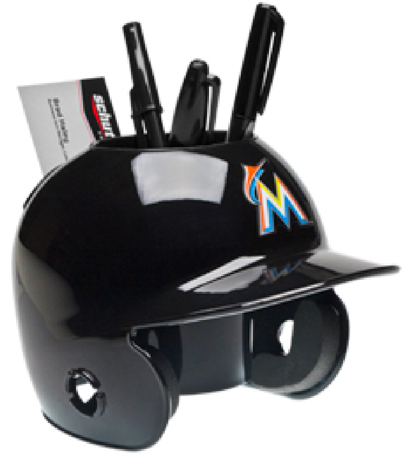 Miami Marlins Miniature Batters Helmet Desk Caddy