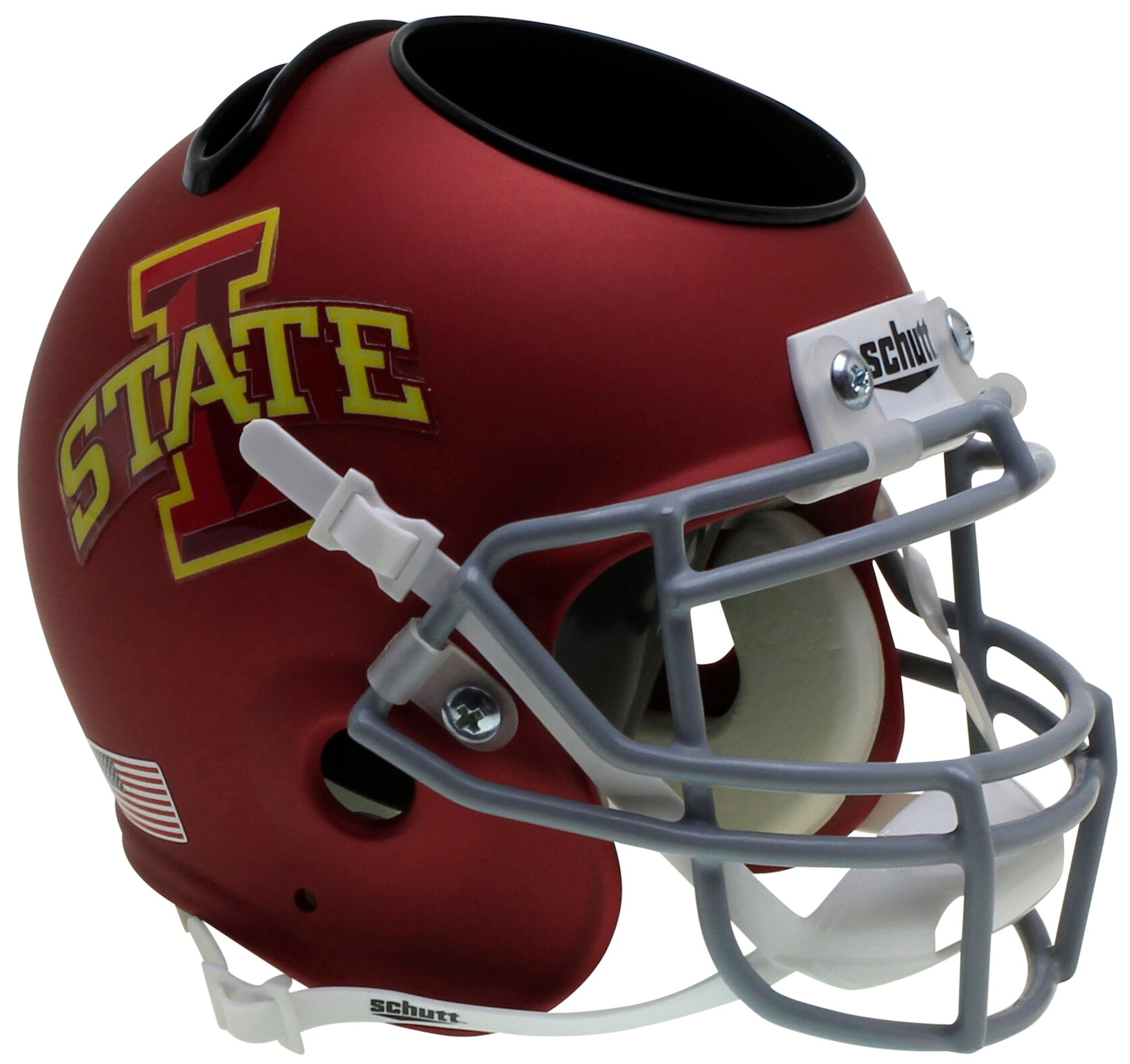 Iowa State Cyclones Miniature Football Helmet Desk Caddy <B>Matte Maroon</B>