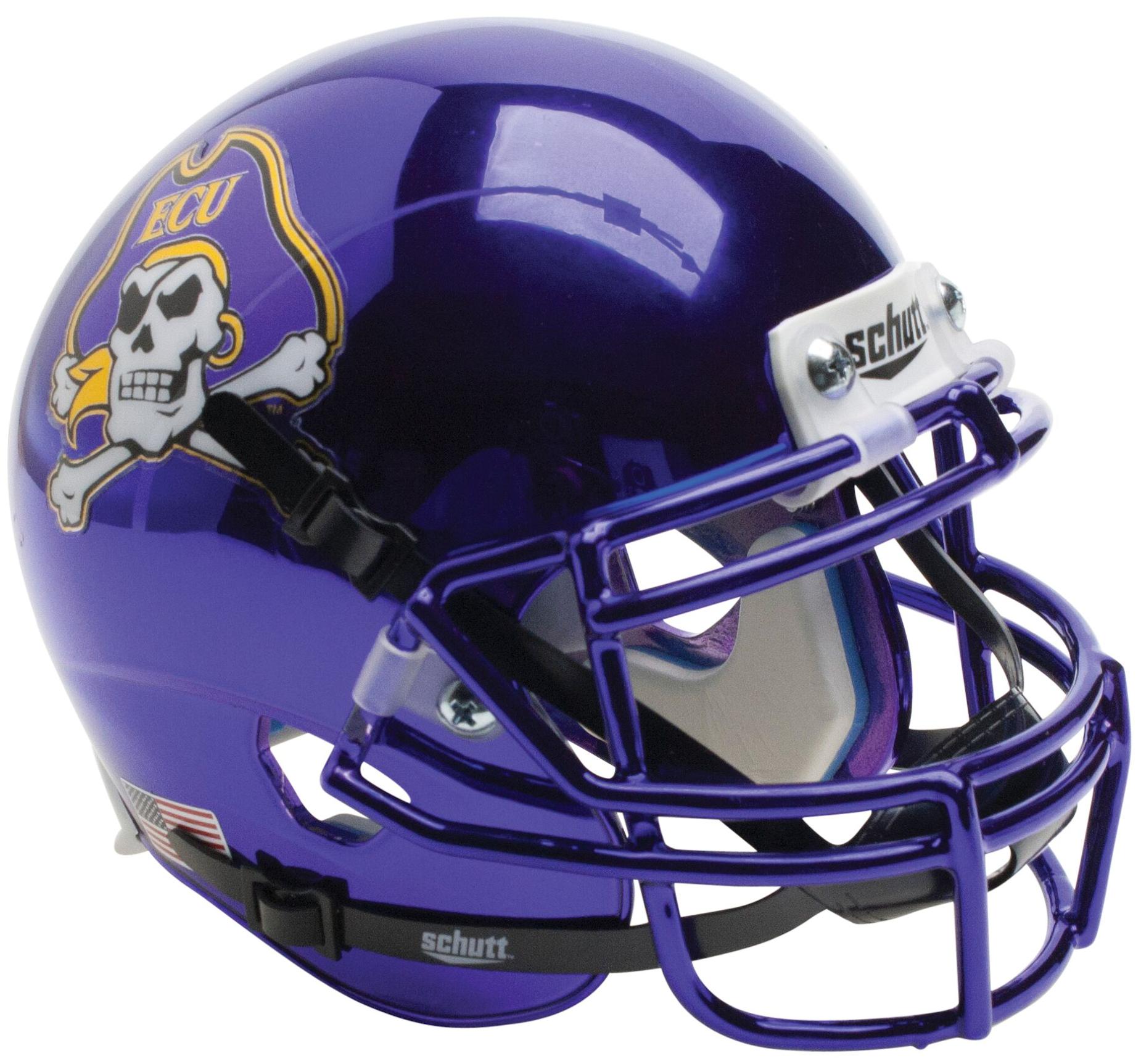 East Carolina Pirates Authentic College XP Football Helmet Schutt <B>Chrome</B>