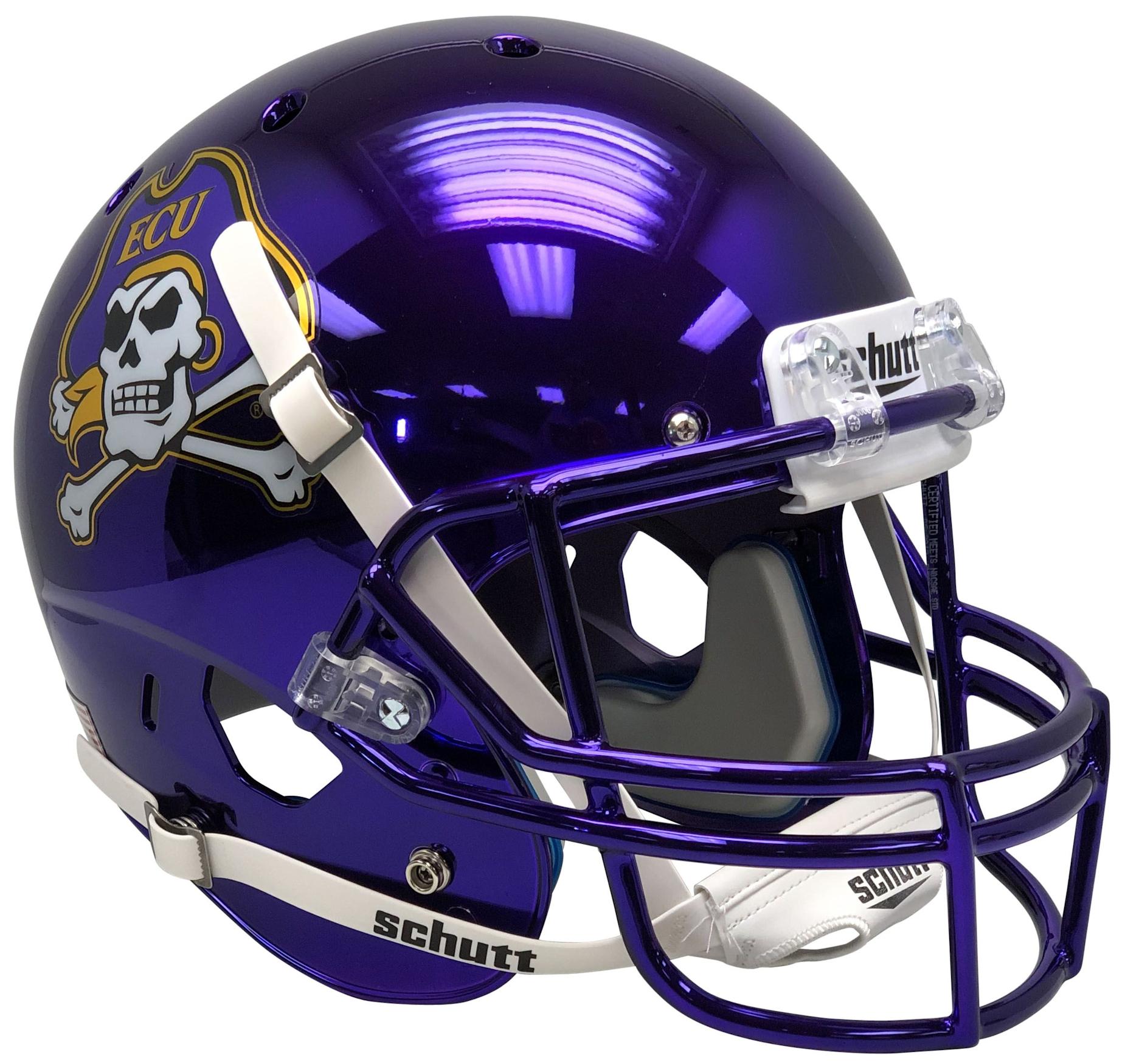 East Carolina Pirates Full XP Replica Football Helmet Schutt <B>Chrome</B>