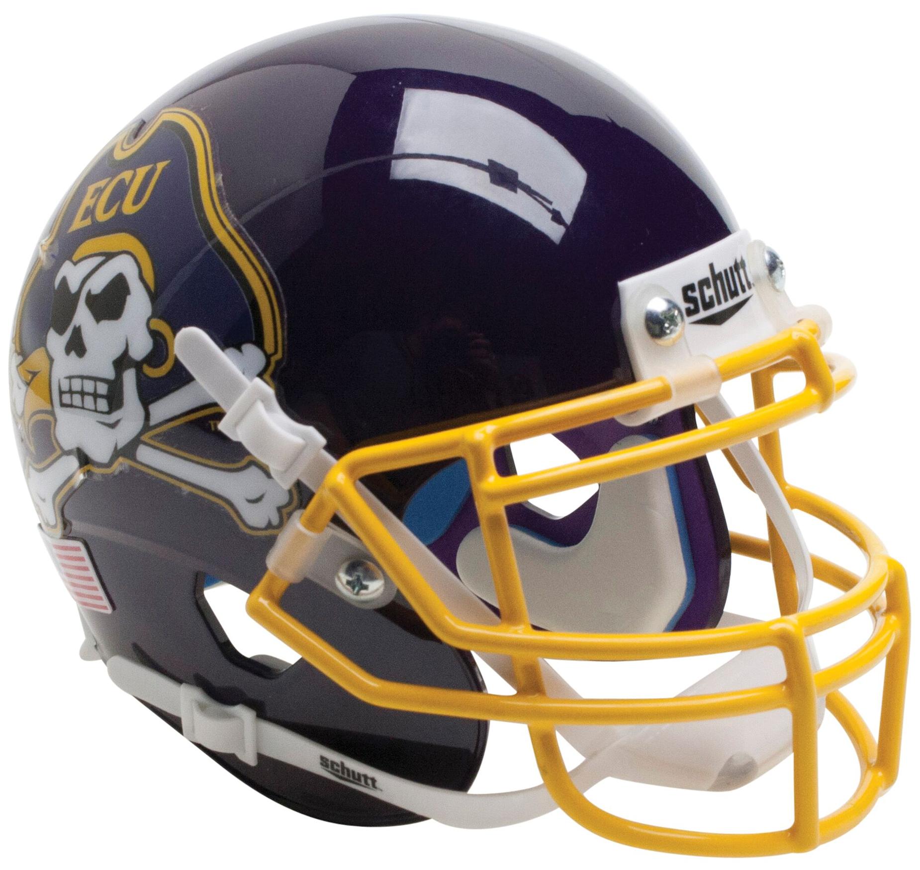 East Carolina Pirates Full XP Replica Football Helmet Schutt <B>Yellow Mask</B>
