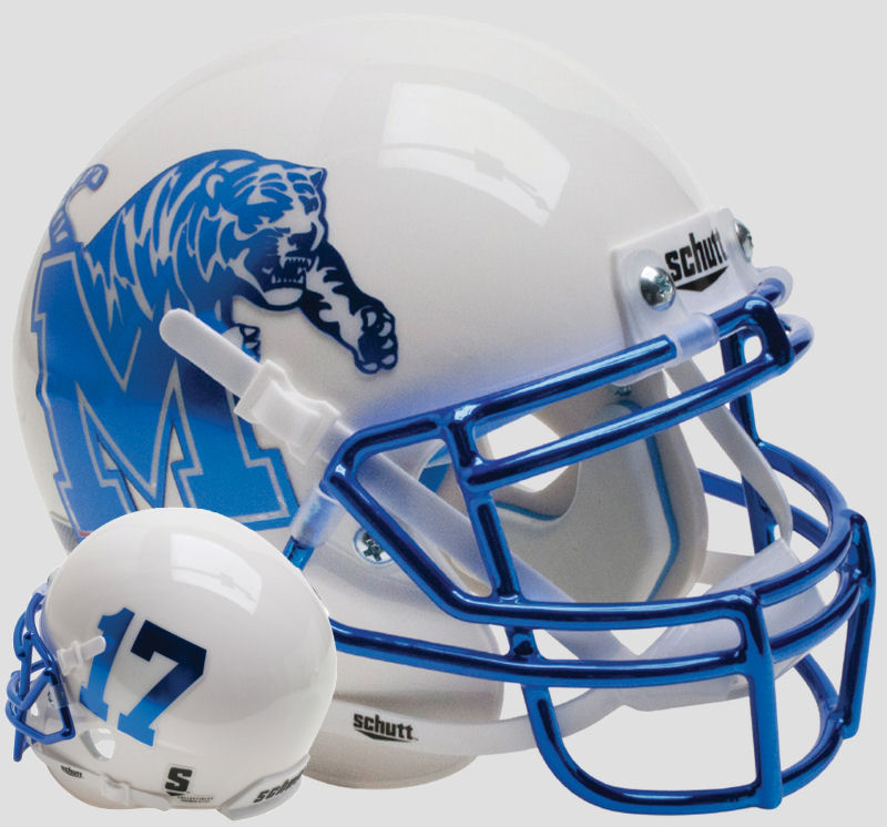 Memphis Tigers Full XP Replica Football Helmet Schutt <B>White</B>