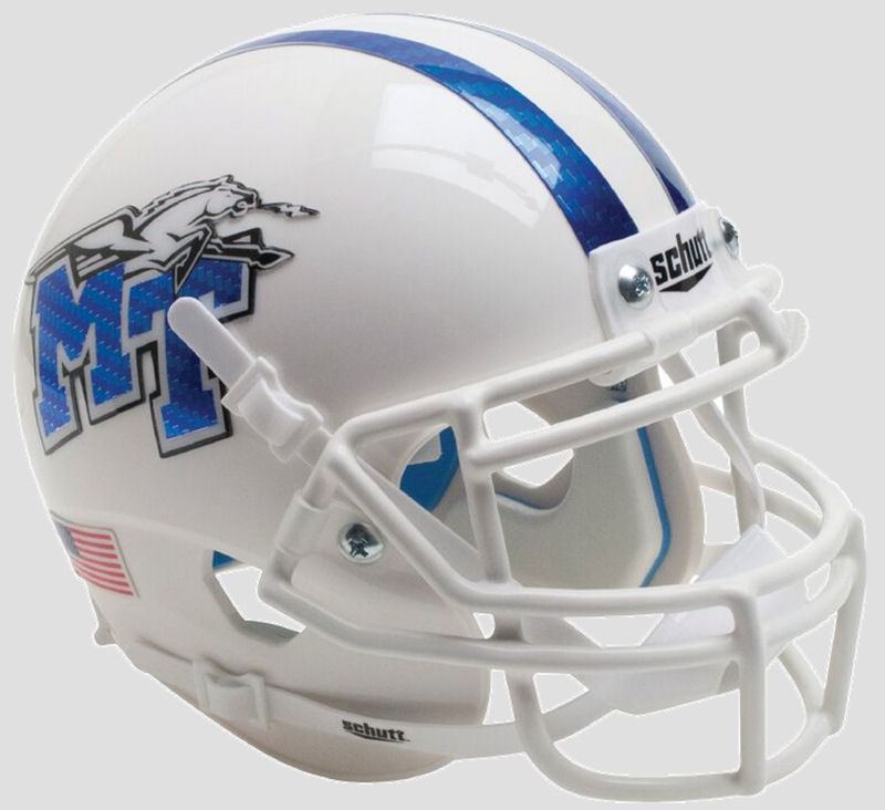Middle Tenn St Blue Raiders Mini XP Authentic Helmet Schutt <B>White with Half Stripe</B>