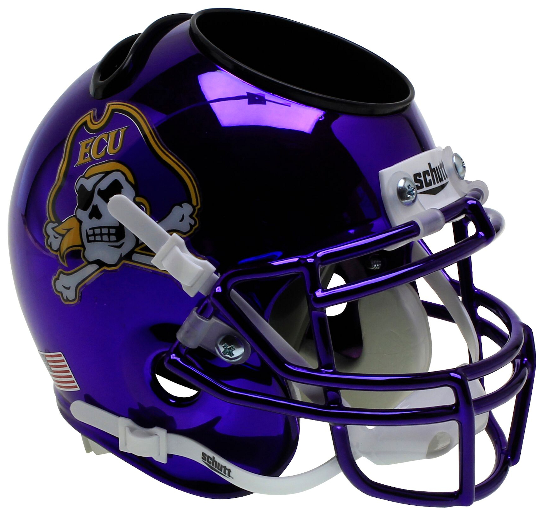 East Carolina Pirates Miniature Football Helmet Desk Caddy <B>Chrome</B>