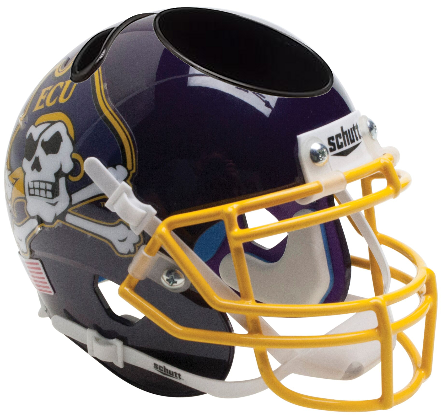 East Carolina Pirates Miniature Football Helmet Desk Caddy <B>Yellow Mask</B>