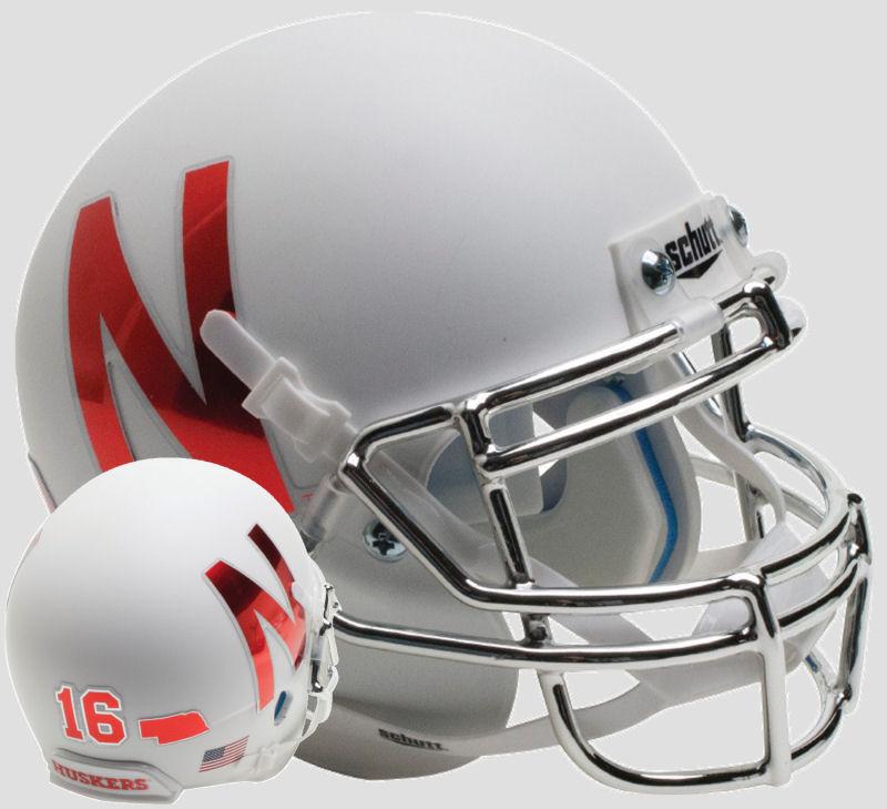 Nebraska Cornhuskers Authentic College XP Football Helmet Schutt <B>Silver Mask</B>