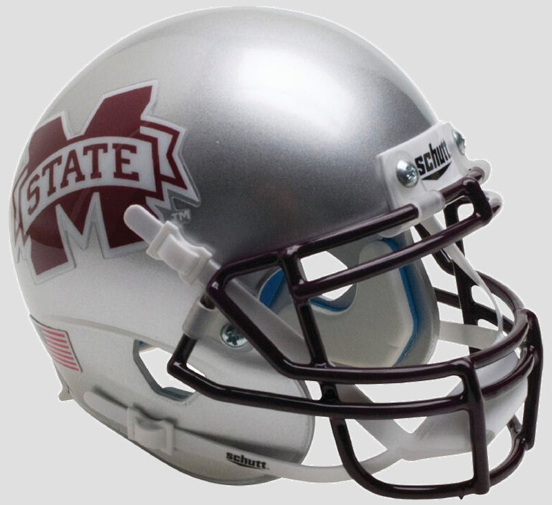 Mississippi State Bulldogs Full XP Replica Football Helmet Schutt <B>Silver</B>