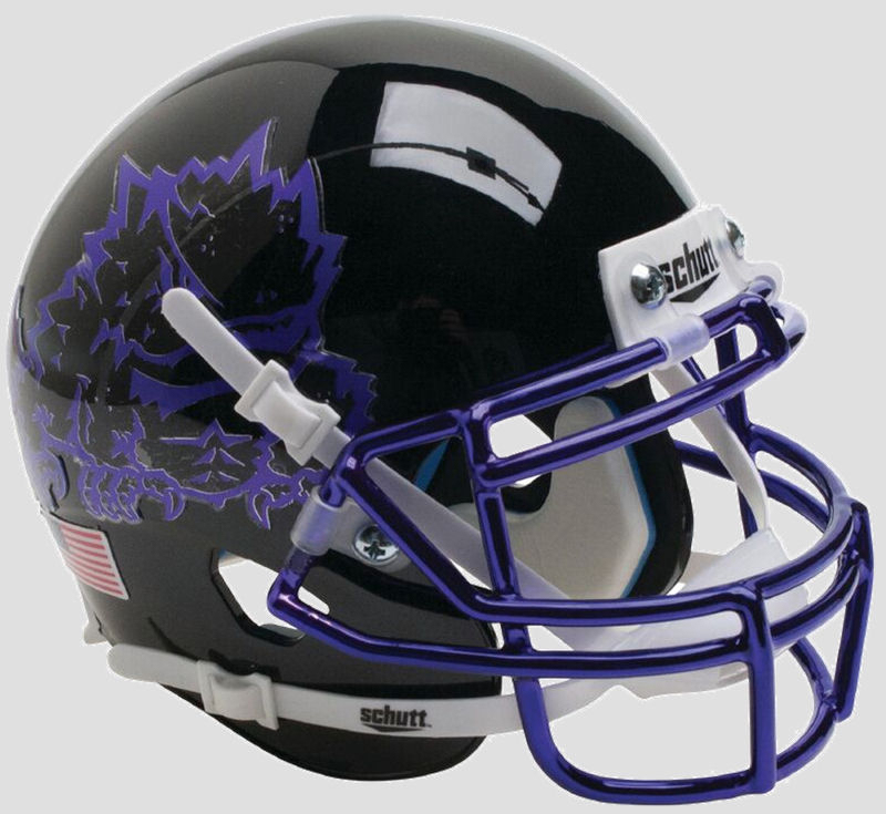 TCU Horned Frogs Full XP Replica Football Helmet Schutt <B>Black with Chrome Mask</B>