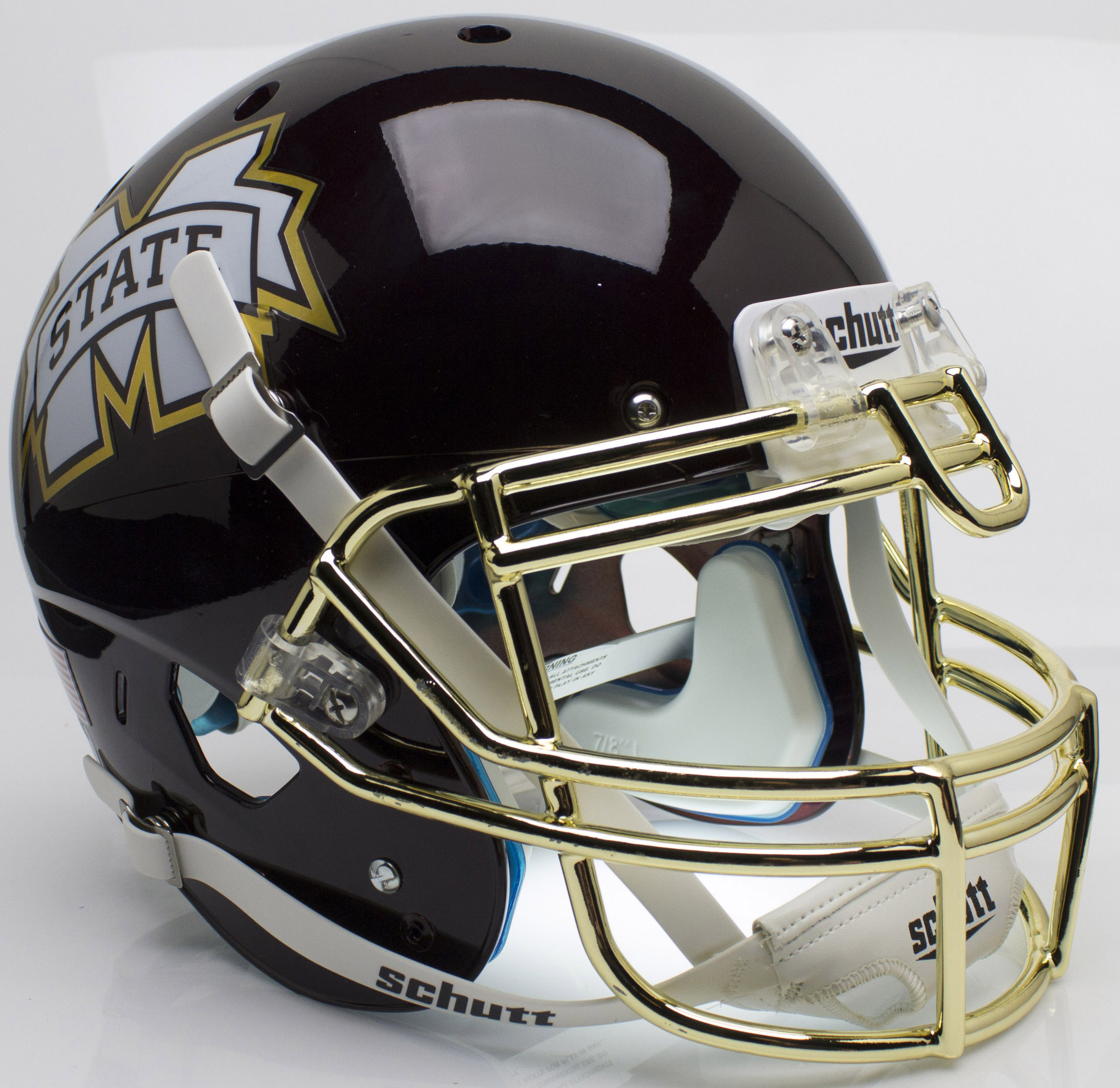Mississippi State Bulldogs Authentic College XP Football Helmet Schutt <B>Chrome Gold Mask</B>