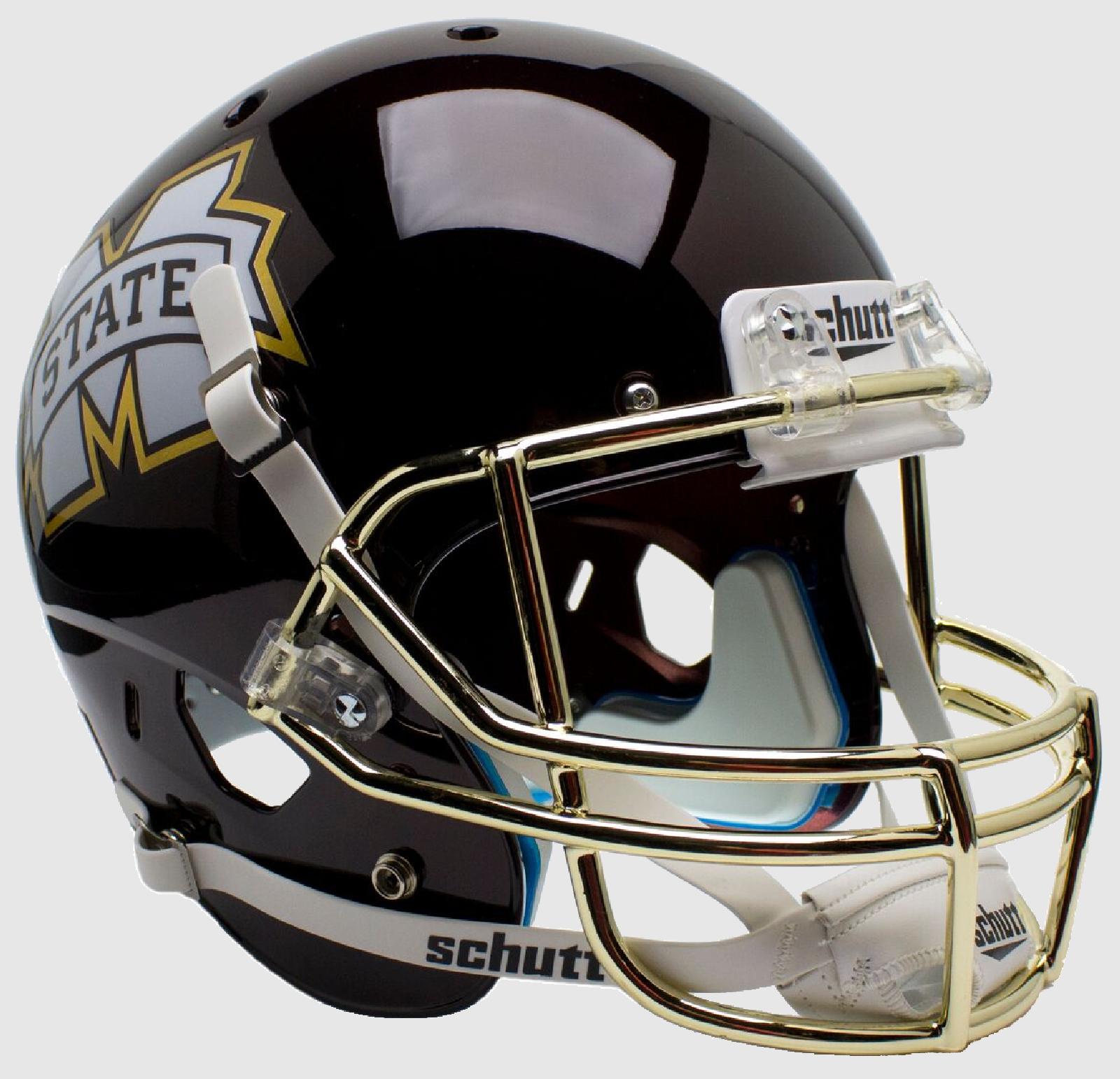 Mississippi State Bulldogs Full XP Replica Football Helmet Schutt <B>Chrome Gold Mask</B>