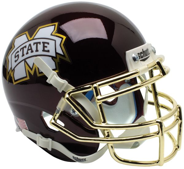Mississippi State Bulldogs Mini XP Authentic Helmet Schutt <B>Chrome Gold Mask</B>