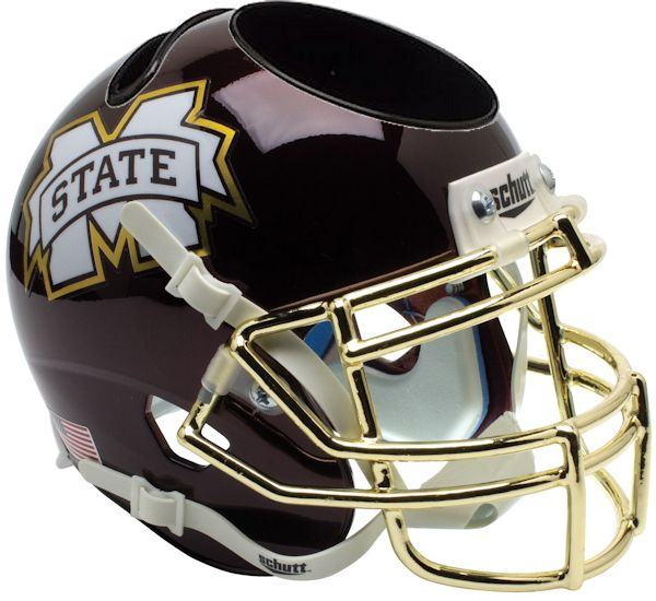 Mississippi State Bulldogs Miniature Football Helmet Desk Caddy <B>Chrome Gold Mask</B>