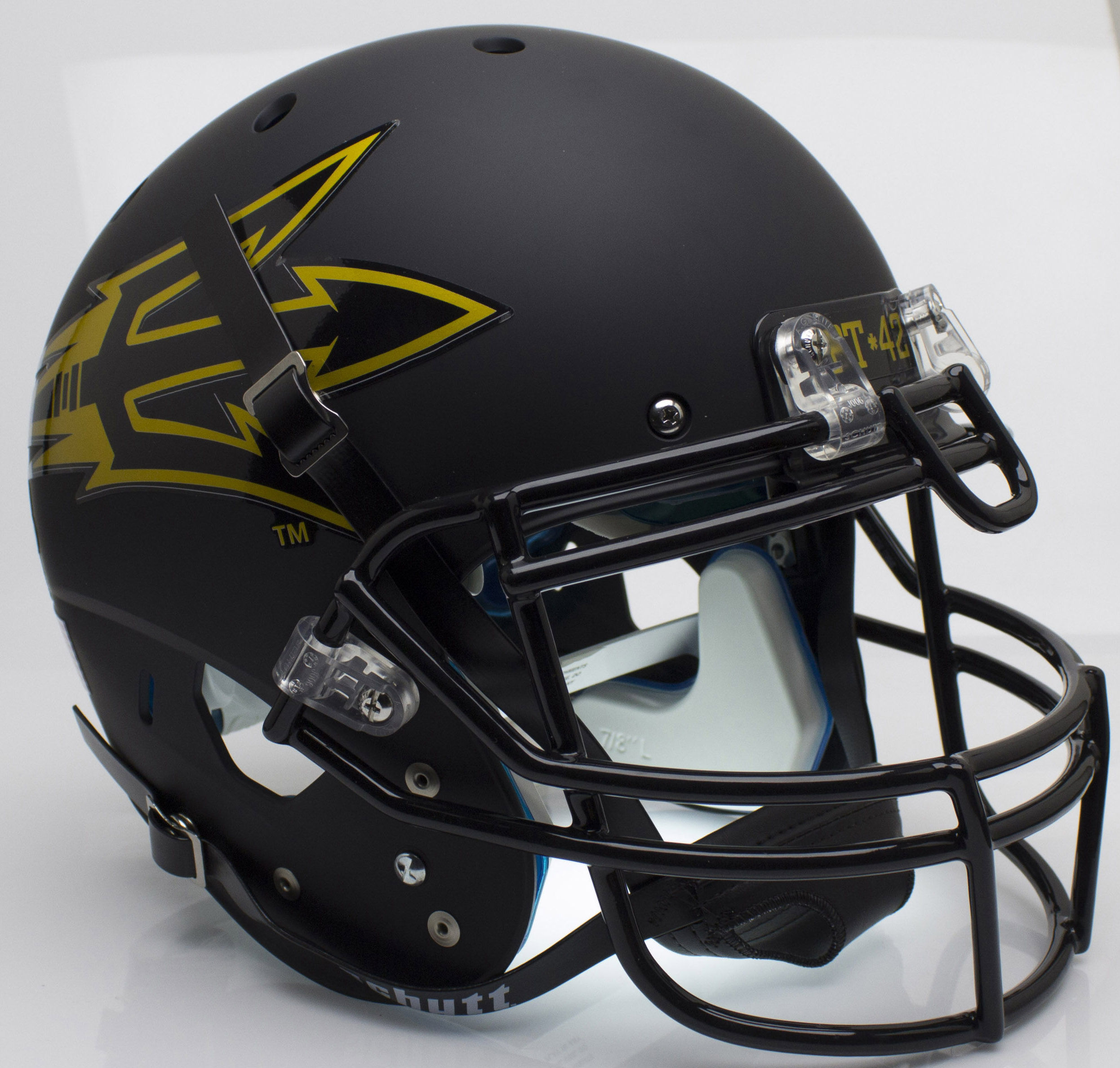 Arizona State Sun Devils Authentic College XP Football Helmet Schutt <B>Matte Black Pitchfork PT 42</B>
