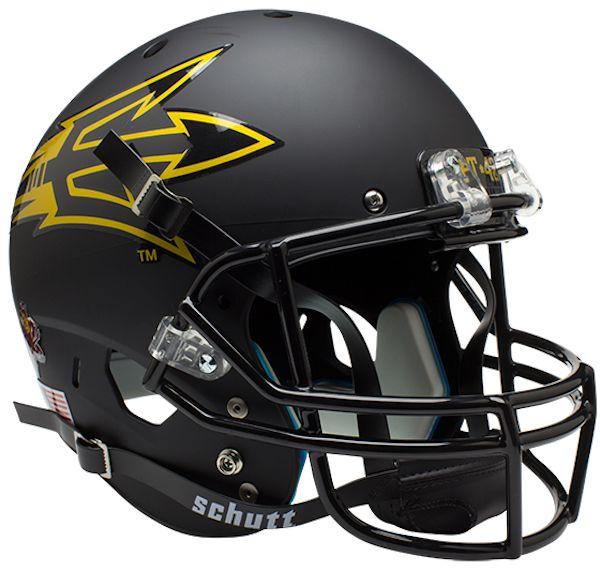 Arizona State Sun Devils Full XP Replica Football Helmet Schutt <B>Matte Black Pitchfork PT 42</B>