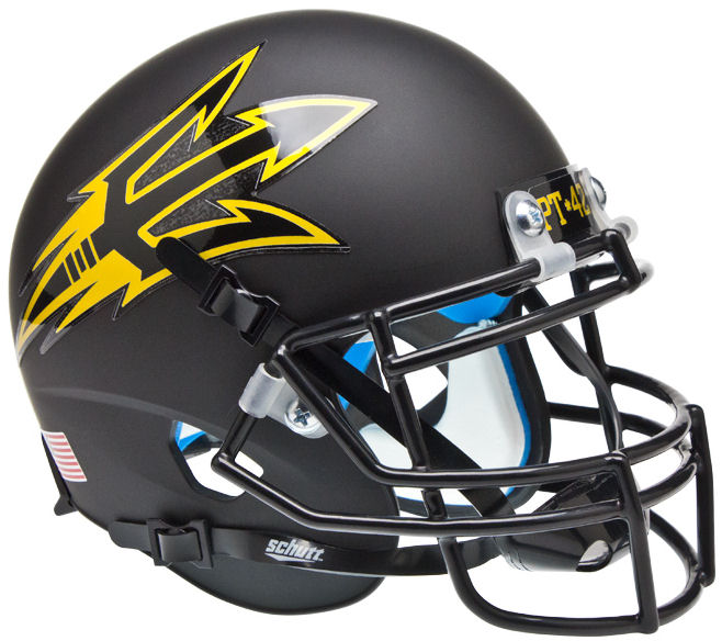 Arizona State Sun Devils Mini XP Authentic Helmet Schutt <B>Matte Black Pitchfork PT 42</B>
