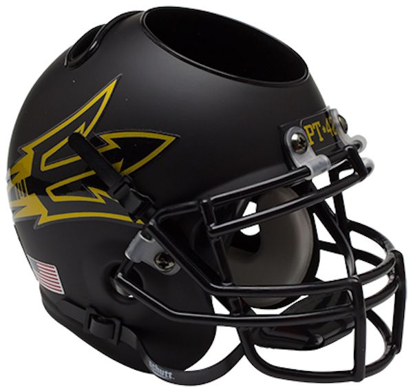 Arizona State Sun Devils Miniature Football Helmet Desk Caddy <B>Matte Black Pitchfork PT 42</B>
