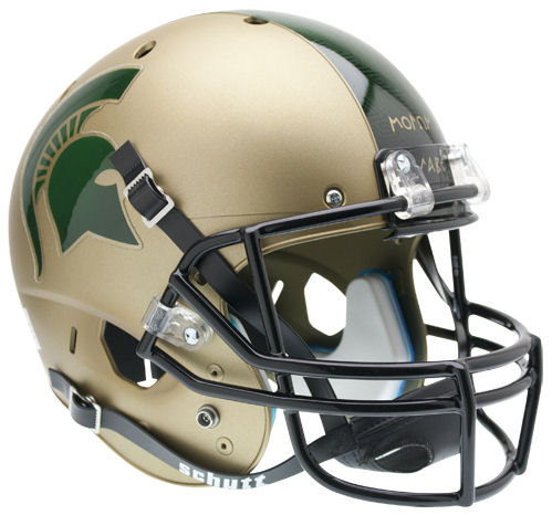 Michigan State Spartans Full XP Replica Football Helmet Schutt <B>Matte Gold</B>