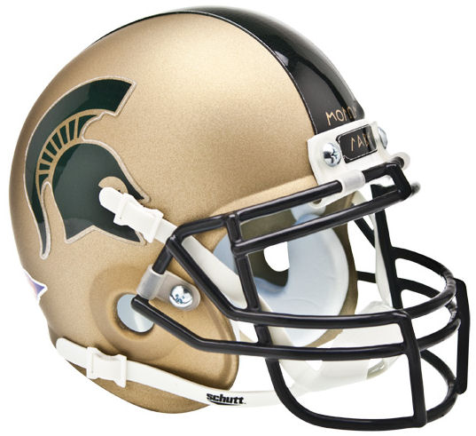 Michigan State Spartans Mini XP Authentic Helmet Schutt <B>Matte Gold</B>