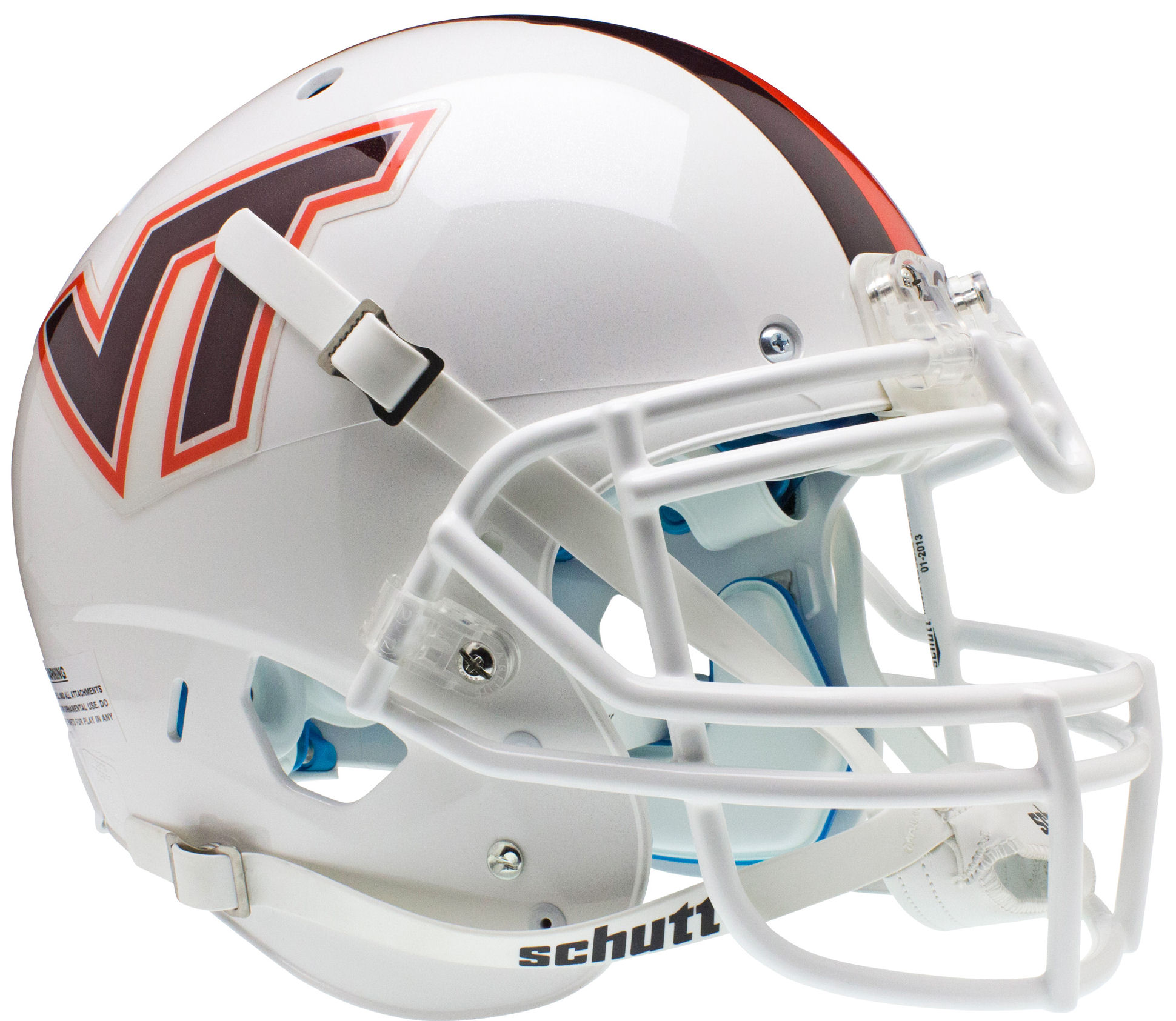 Virginia Tech Hokies Authentic College XP Football Helmet Schutt <B>White w/Stripe</B>