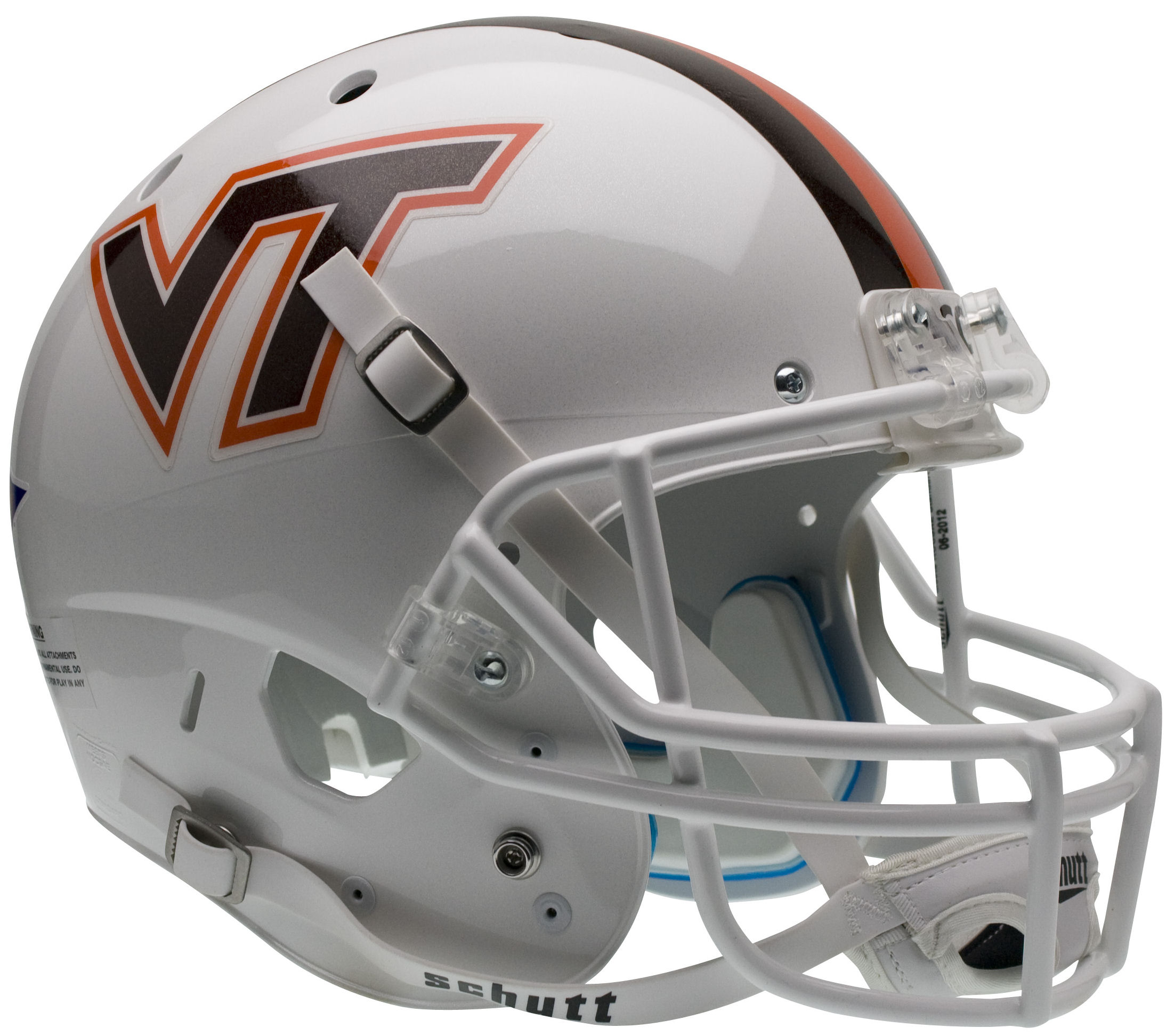 Virginia Tech Hokies Full XP Replica Football Helmet Schutt <B>White w/Stripe</B>