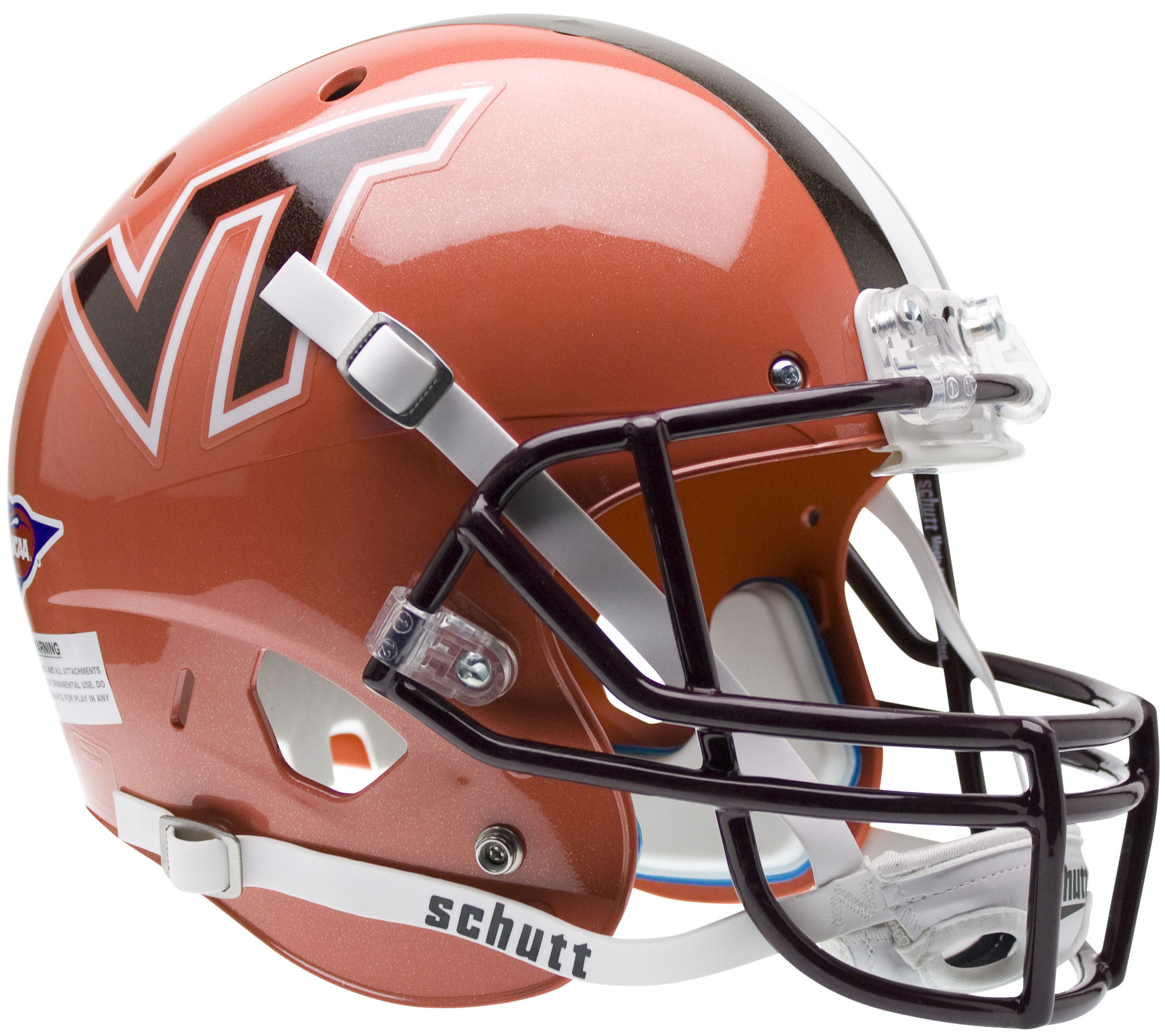 Virginia Tech Hokies Full XP Replica Football Helmet Schutt <B>Orange wi/ Stripe</B>