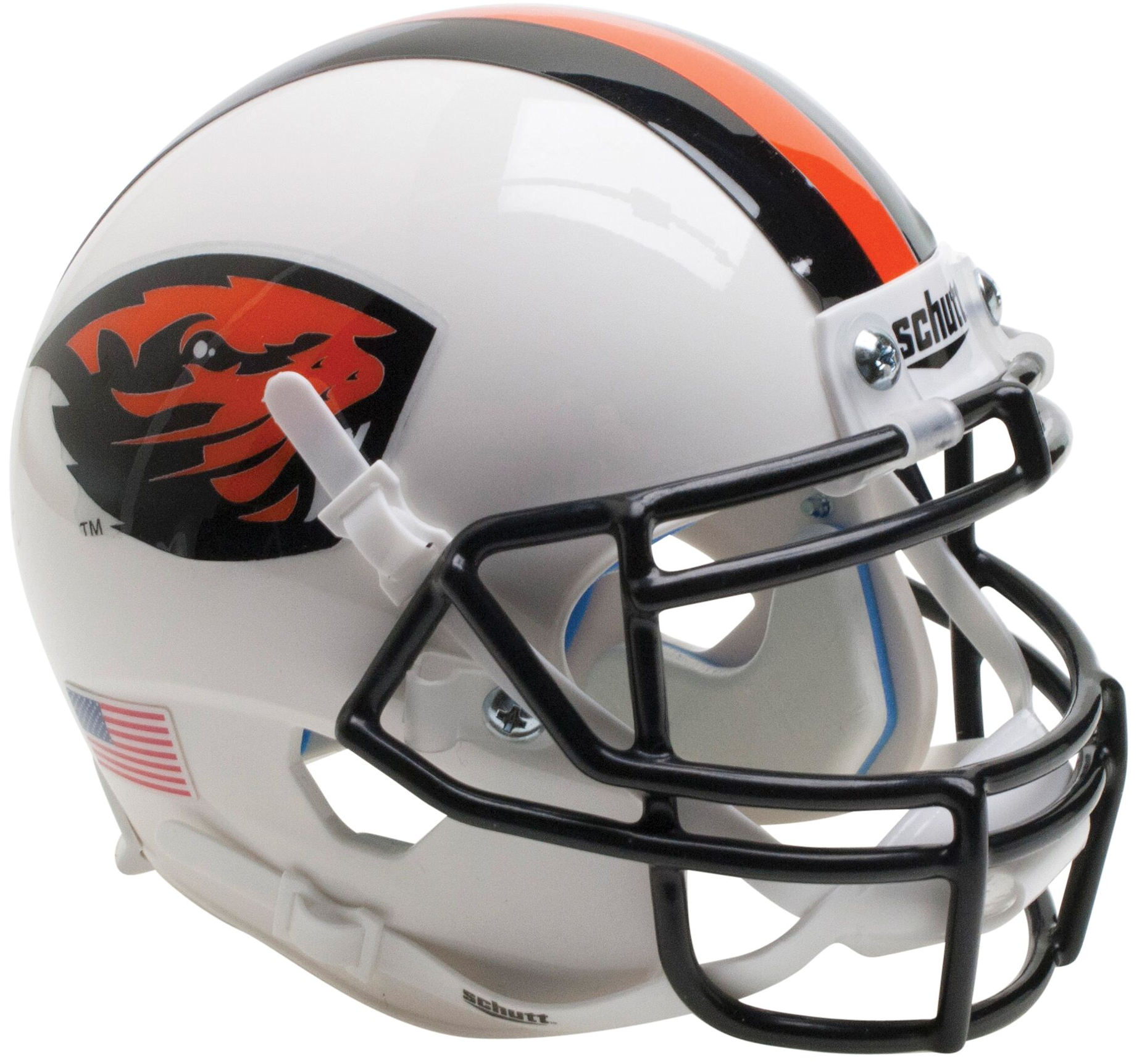 Oregon State Beavers Mini XP Authentic Helmet Schutt <B>Orange Beaver/Stripe</B>