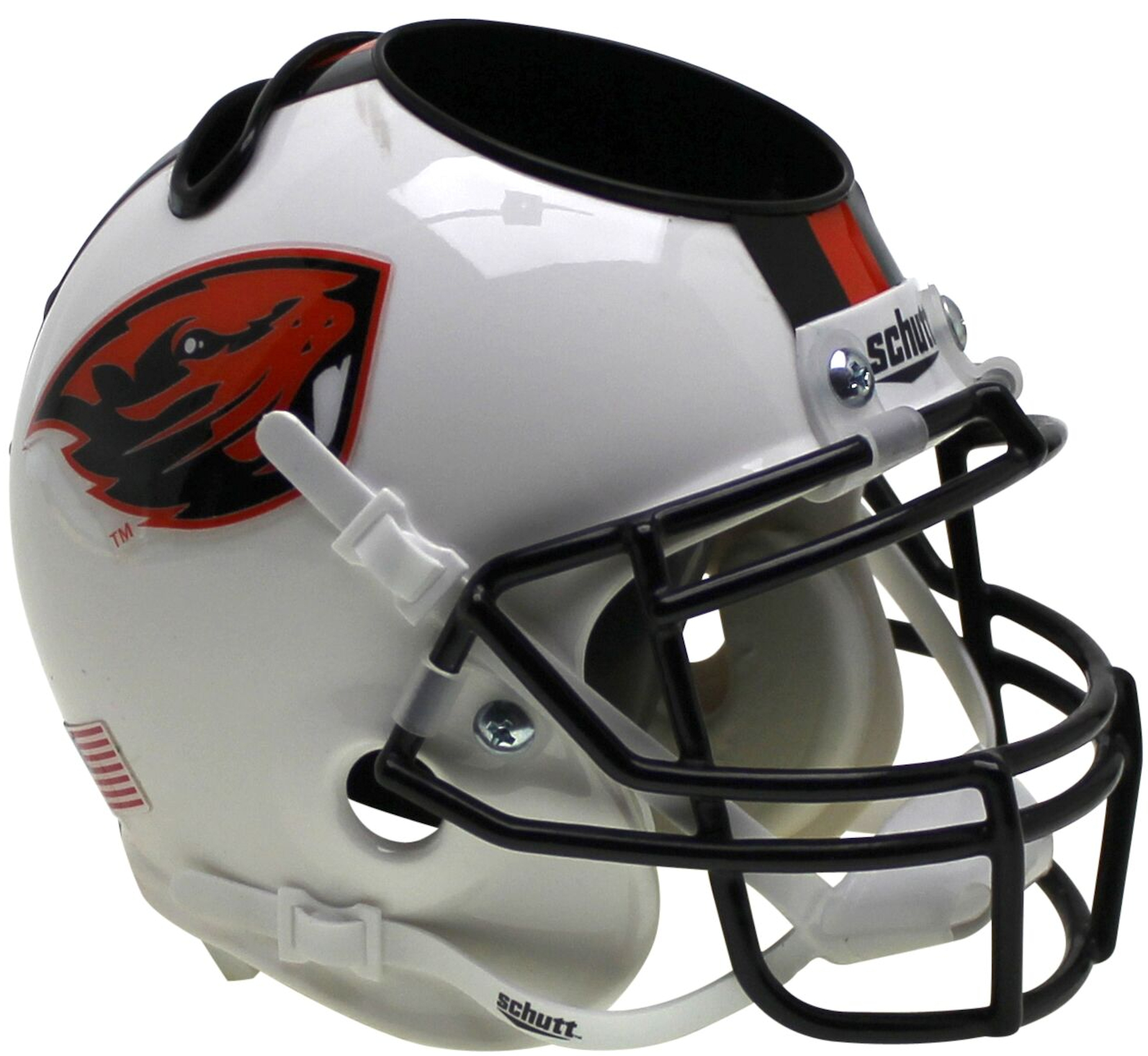Oregon State Beavers Miniature Football Helmet Desk Caddy <B>Orange Beaver/Stripe</B>