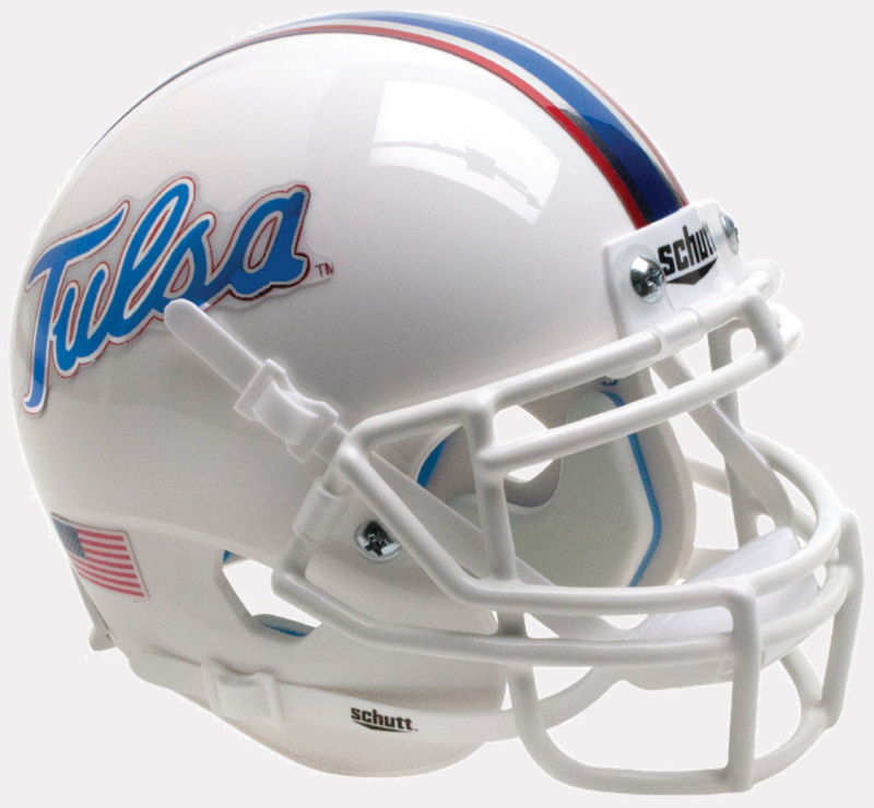 Tulsa Golden Hurricane Mini Football Helmet Desk Caddy <B>Chrome Decals</B>