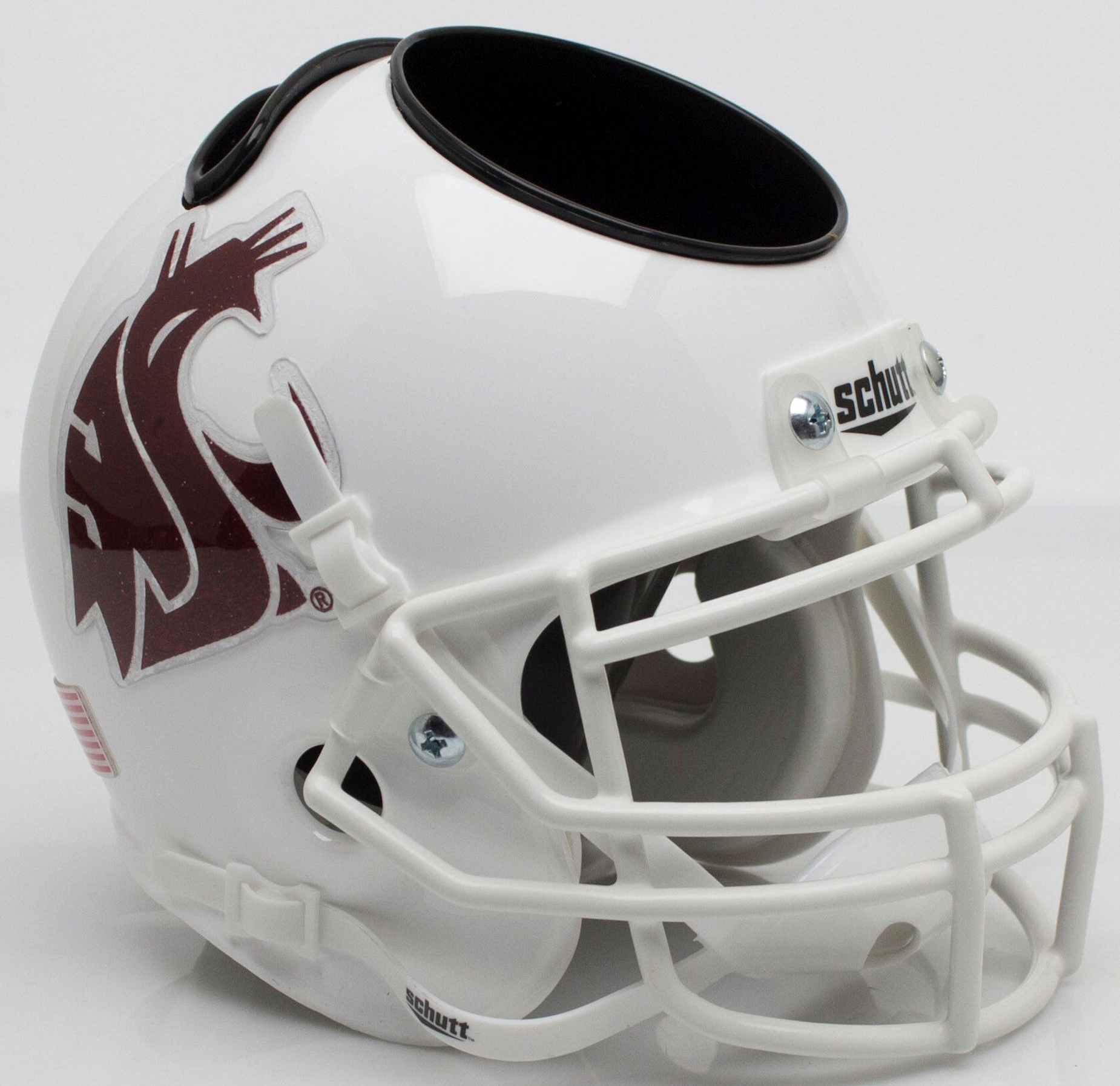 Washington State Cougars Miniature Football Helmet Desk Caddy <B>White</B>