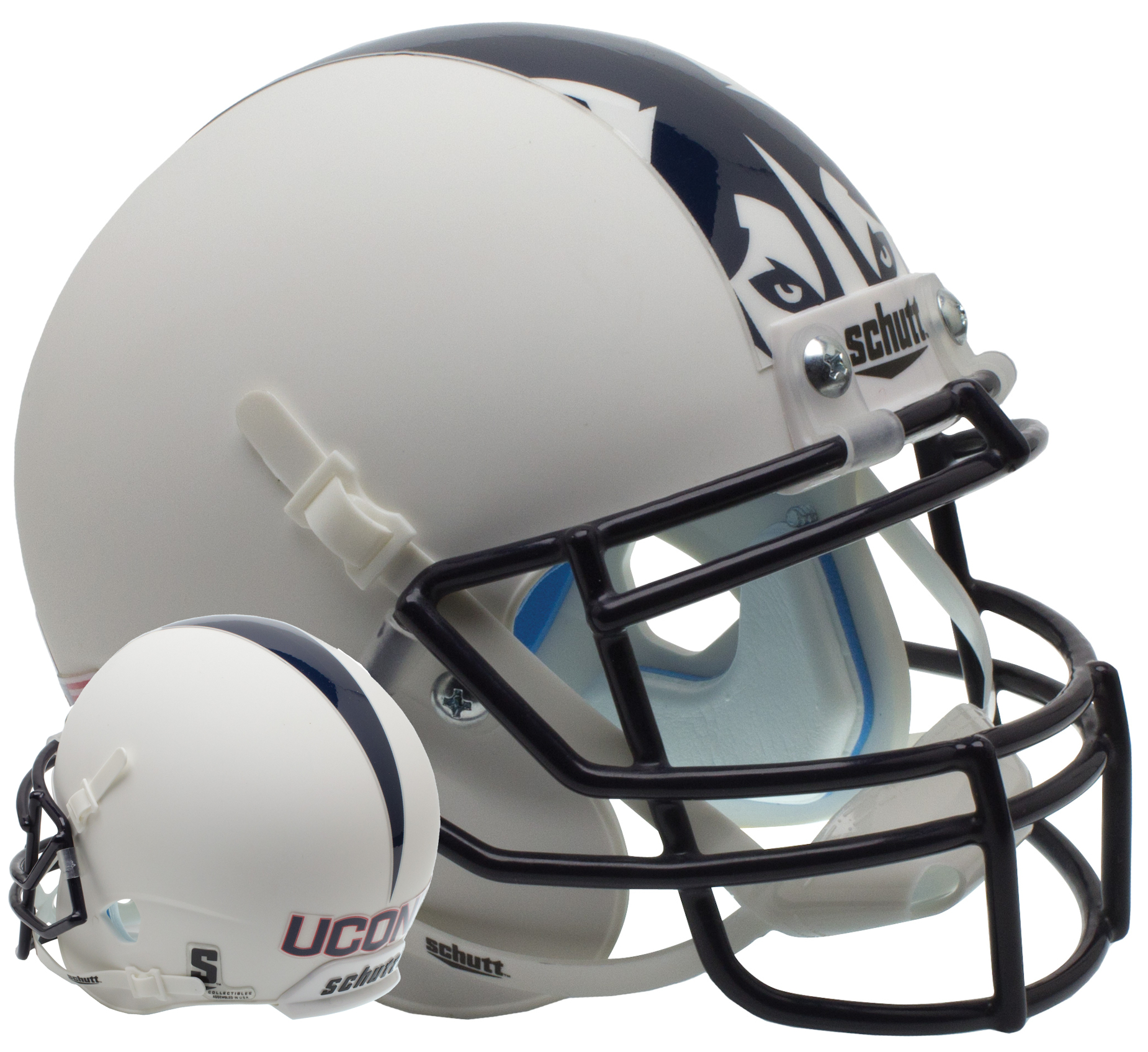 Connecticut Huskies Full XP Replica Football Helmet Schutt <B>Matte White</B>